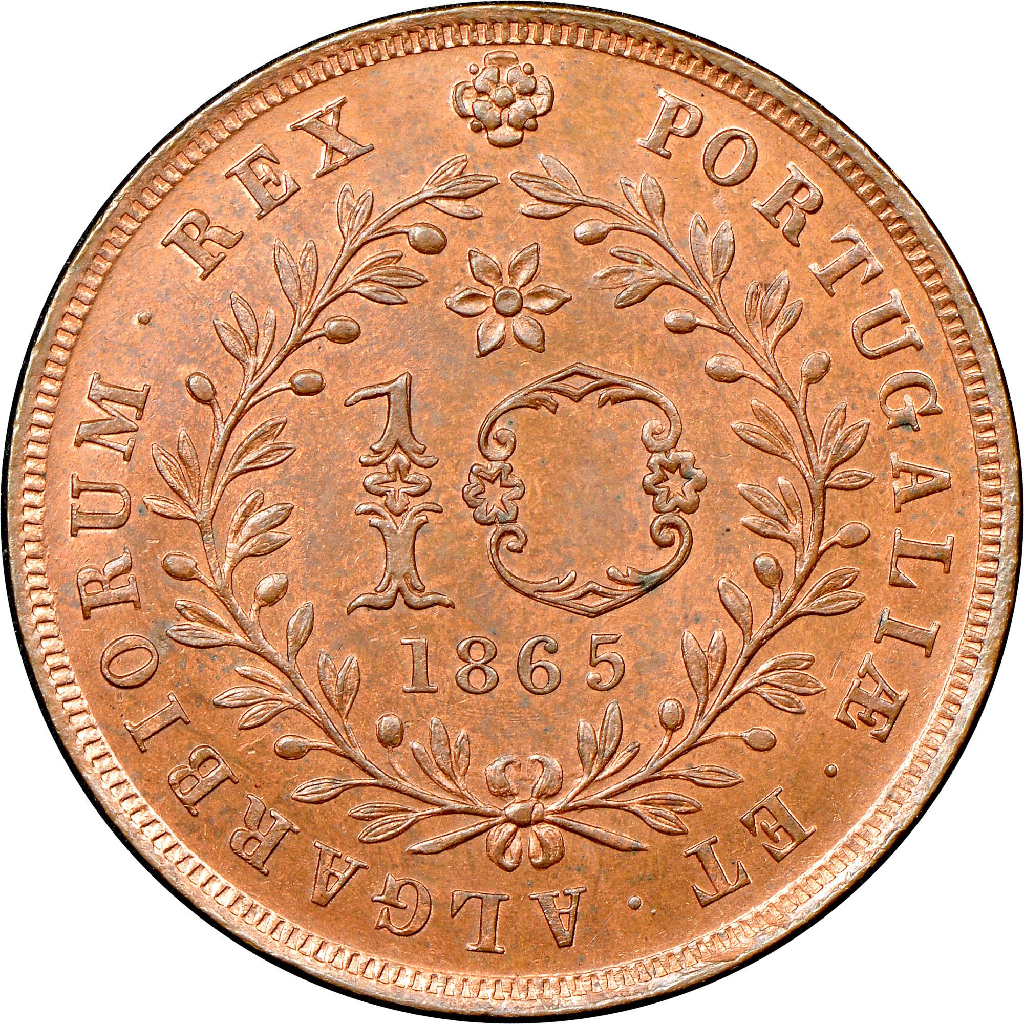 Azores 10 Reis reverse