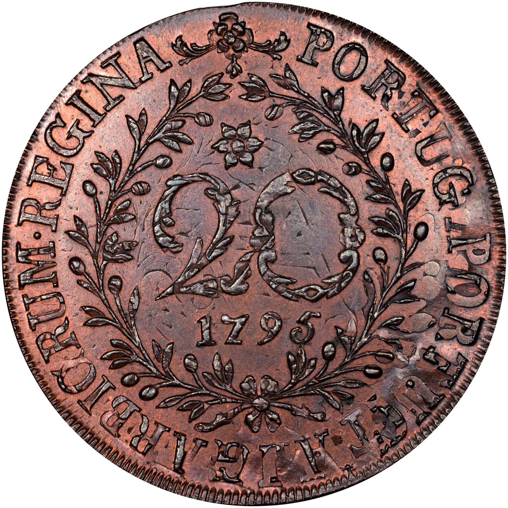 1790-1798 Azores 20 Reis reverse