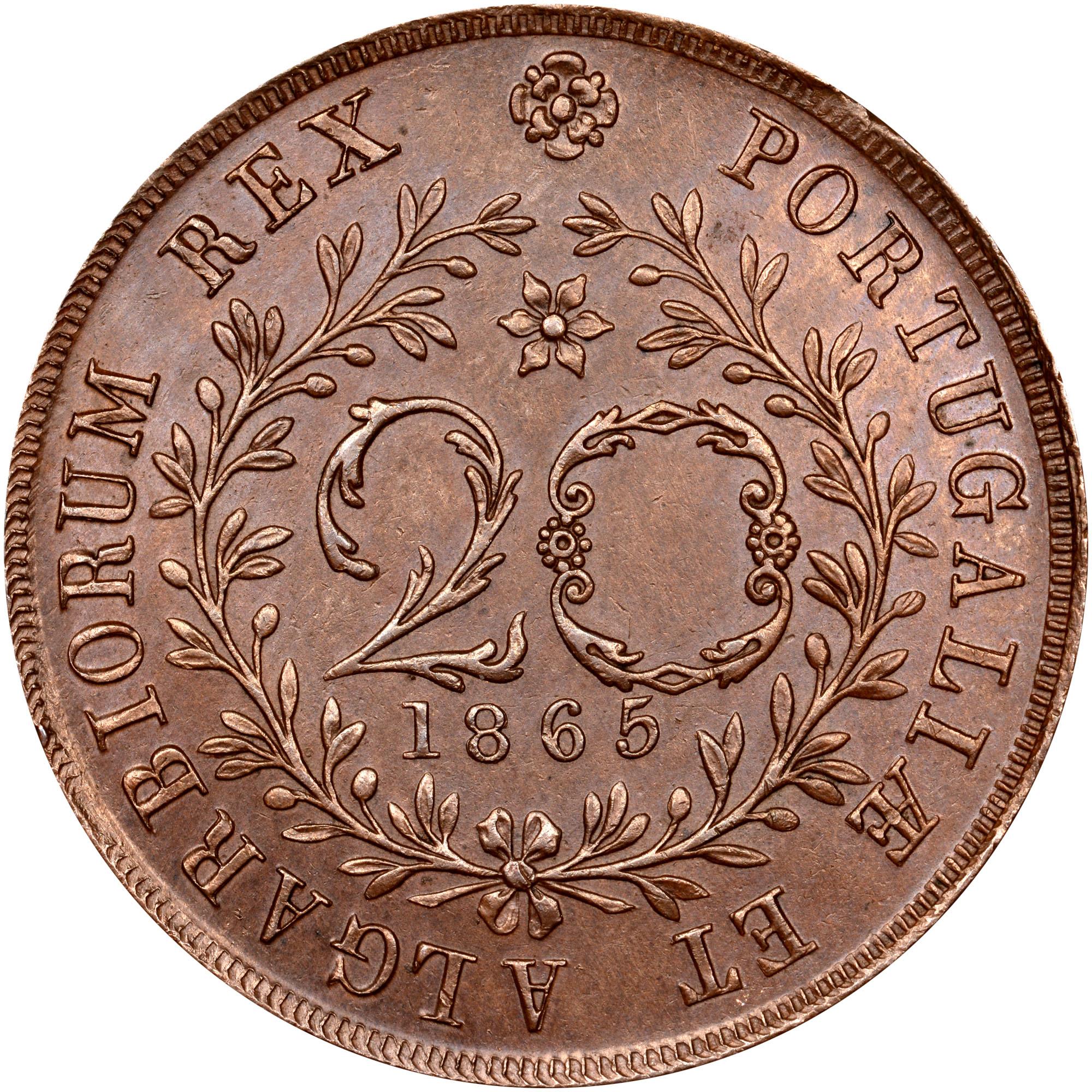 1865-1866 Azores 20 Reis reverse
