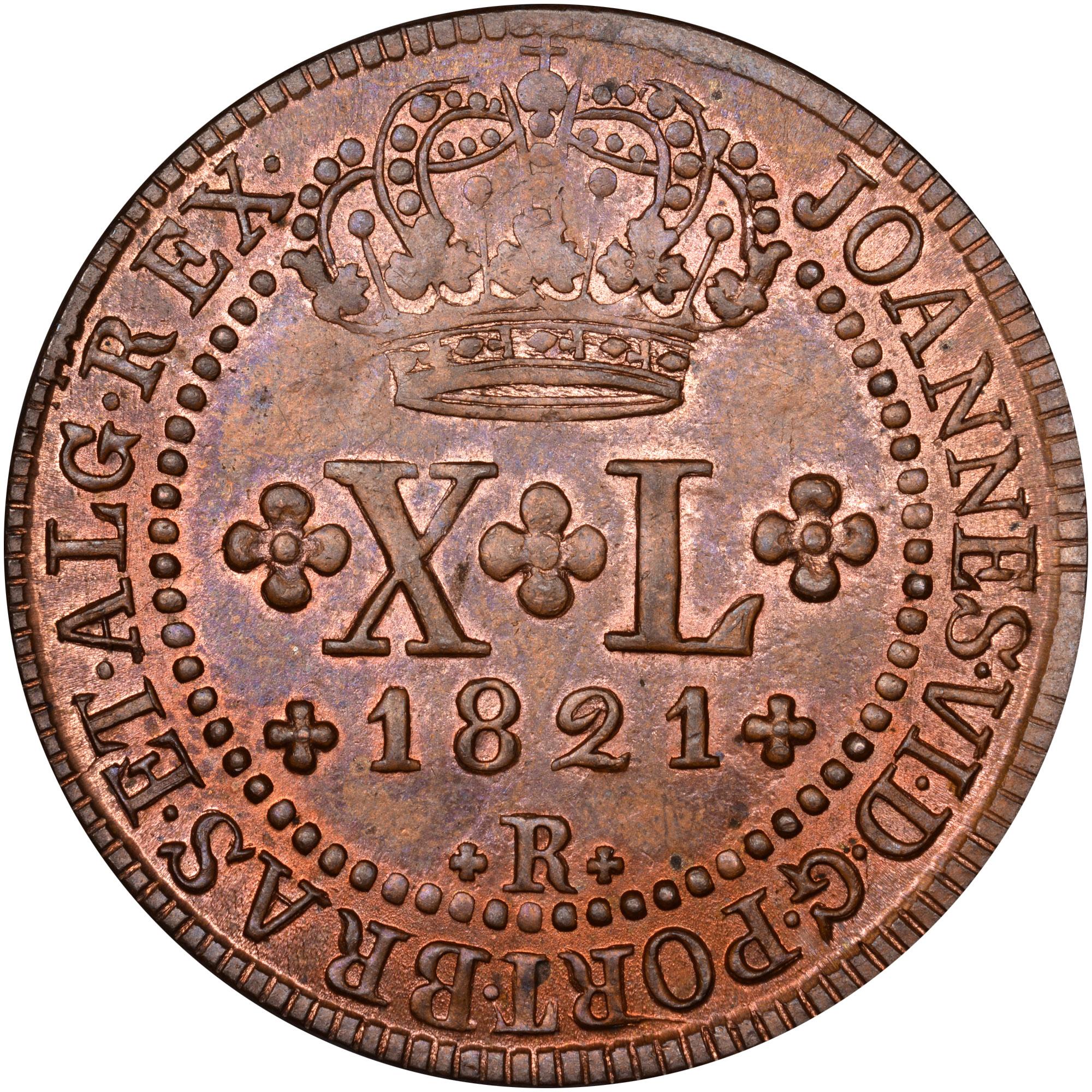 1818-1822 Brazil 40 Reis obverse