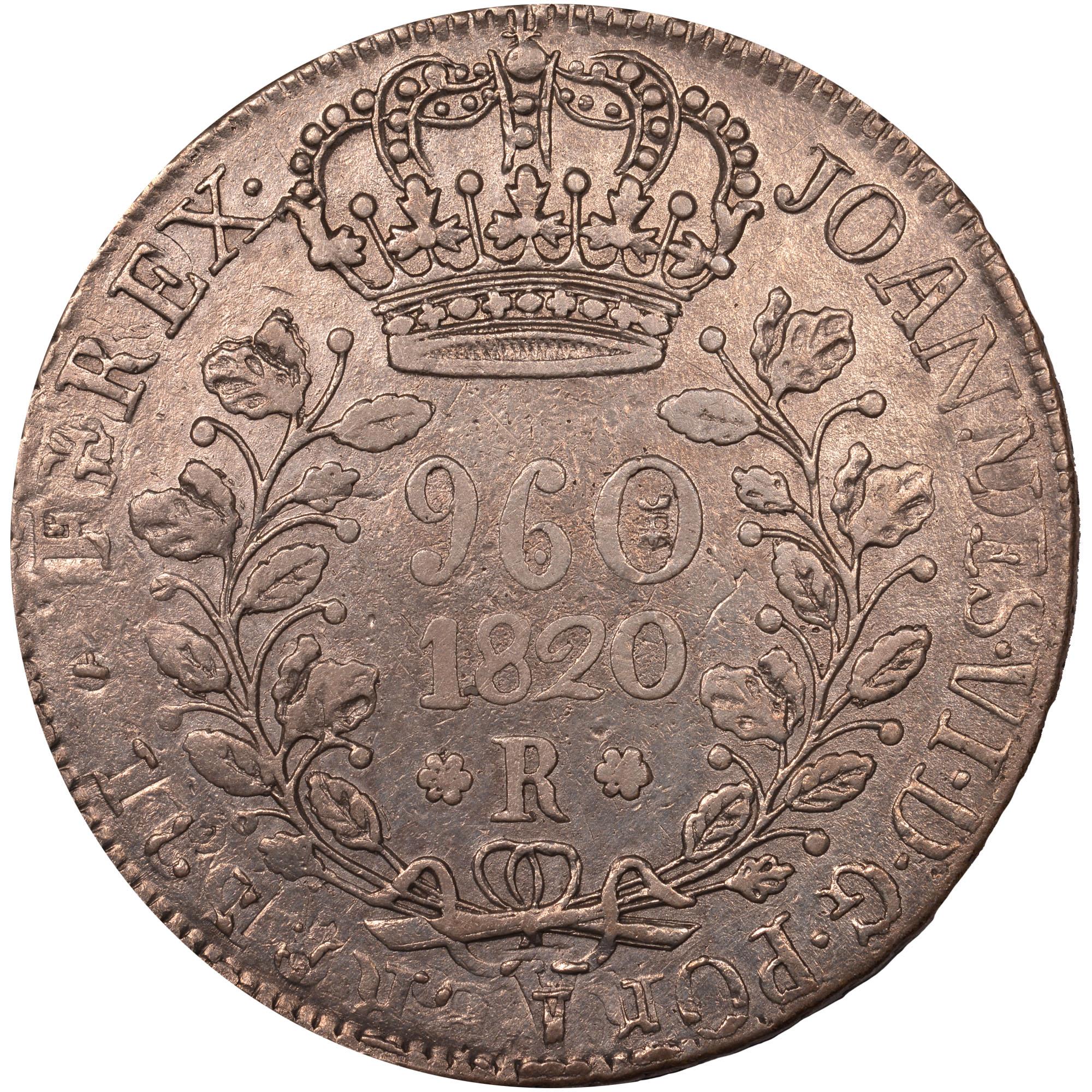 1818-1822 Brazil 960 Reis obverse