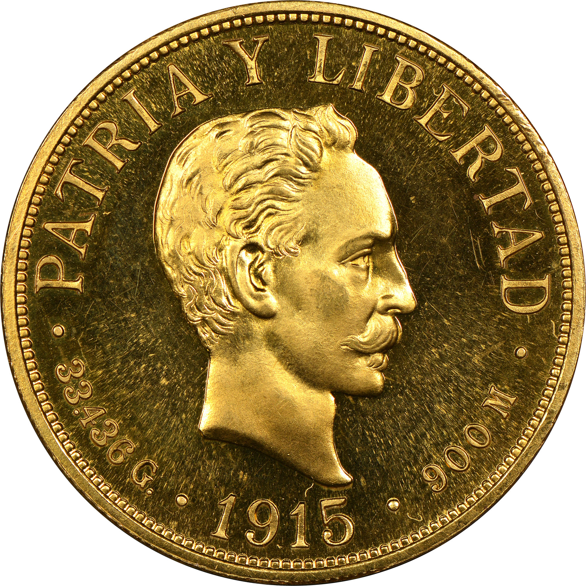 1915-1916 Cuba 20 Pesos obverse