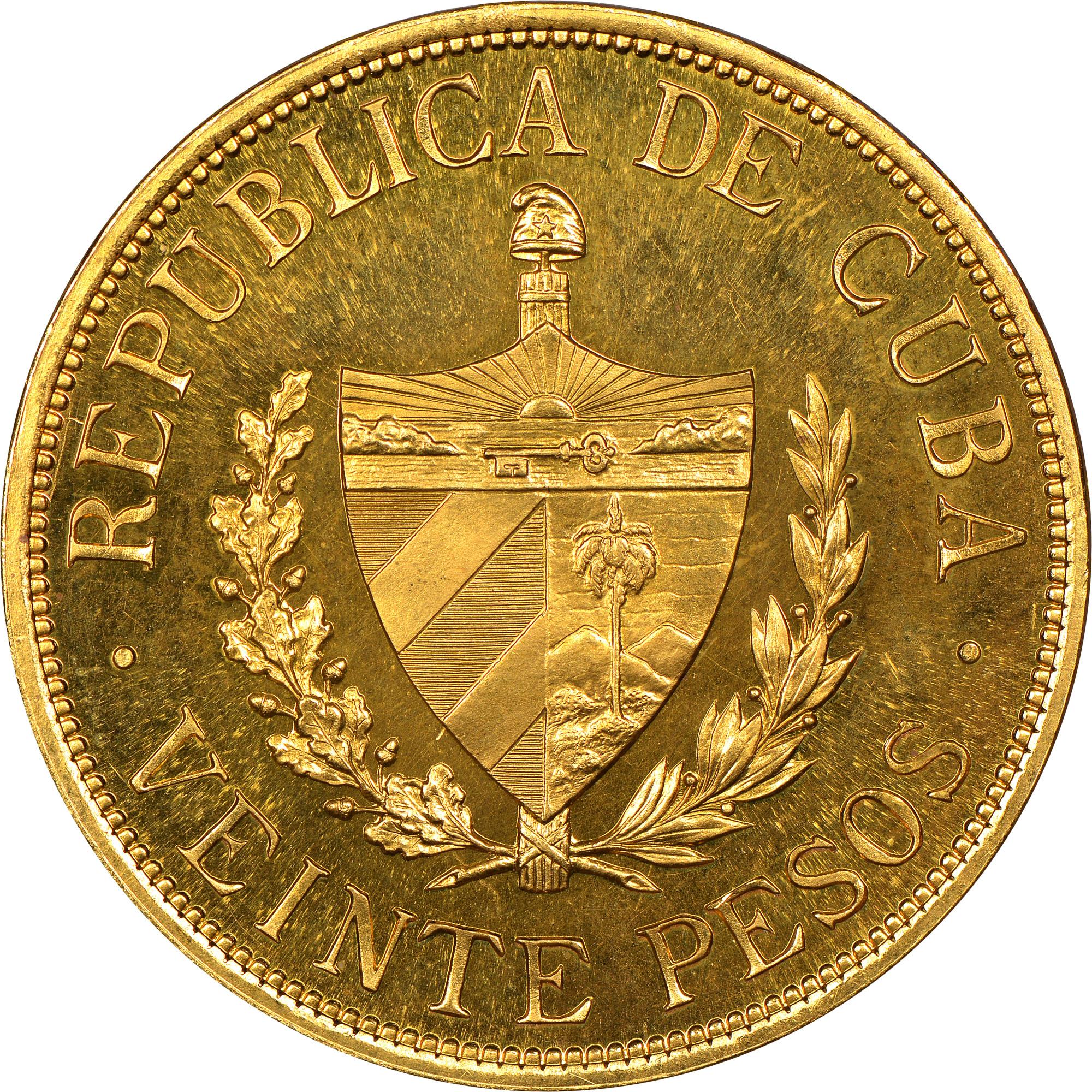 1915-1916 Cuba 20 Pesos reverse