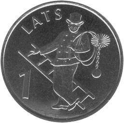 Latvia Lats reverse