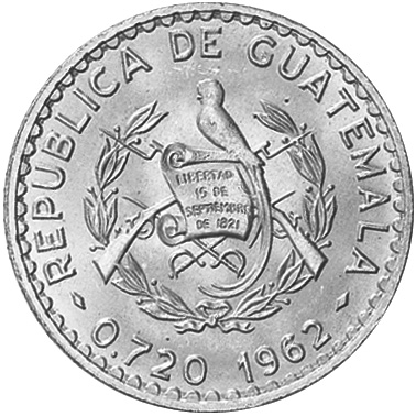 1962-1963/2 Guatemala 50 Centavos obverse