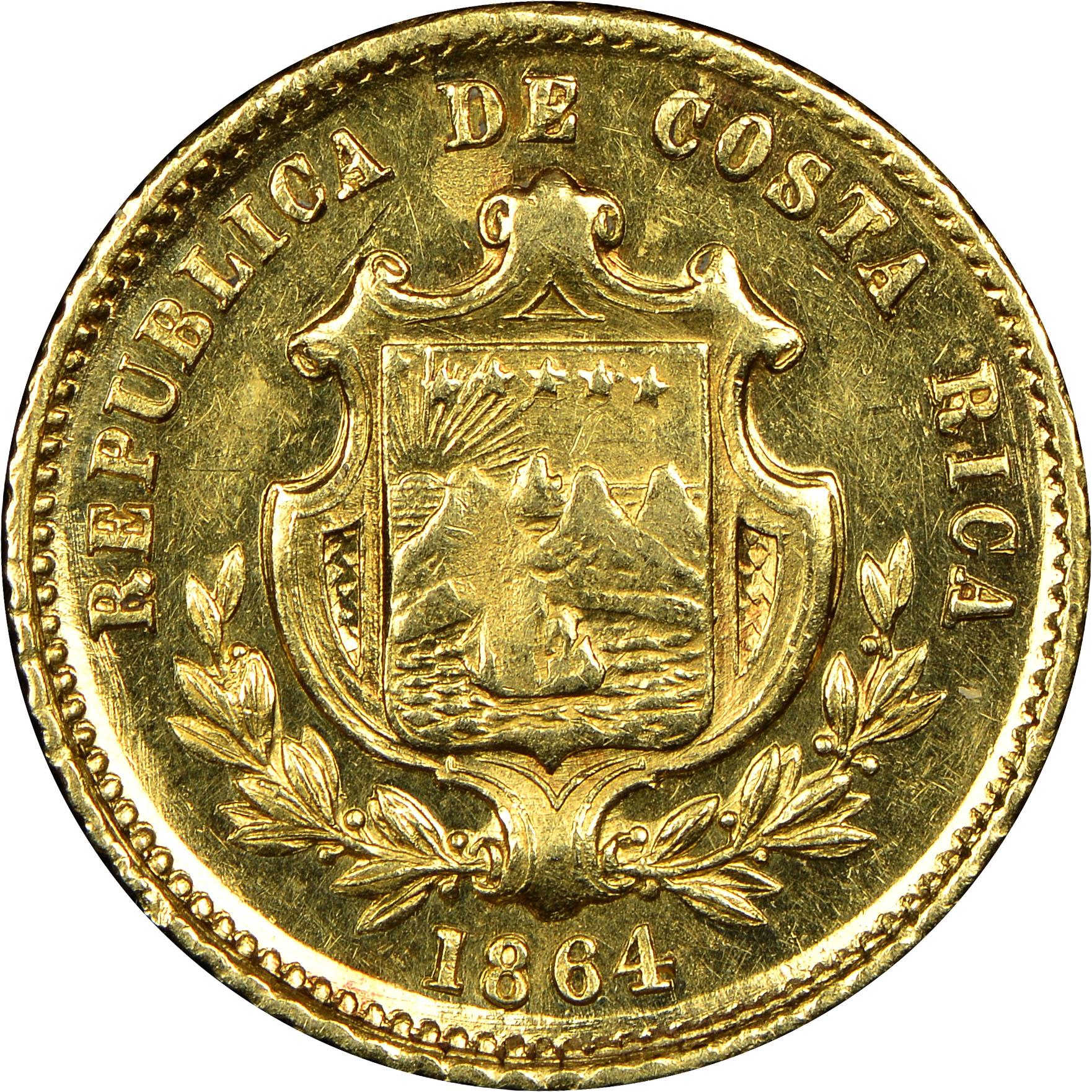 1850-1864 Costa Rica 1/2 Escudo obverse