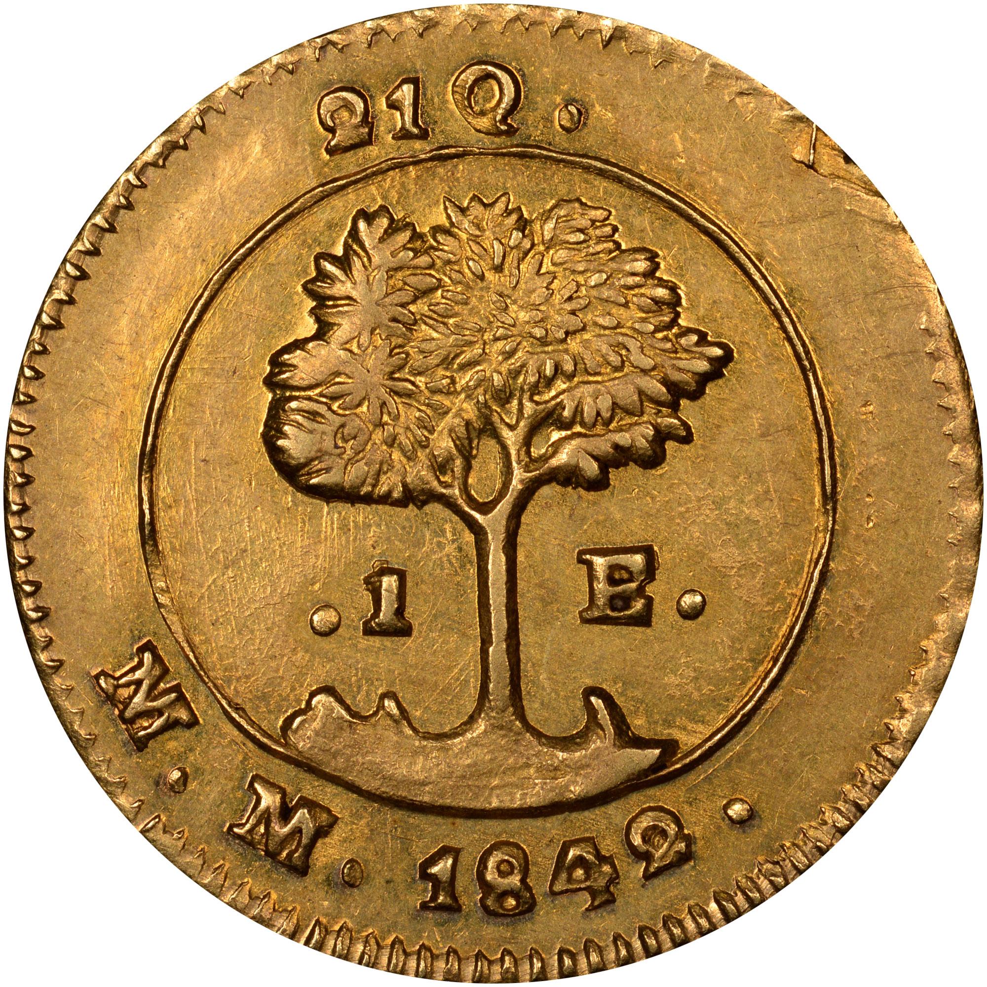 1842 Costa Rica Escudo reverse
