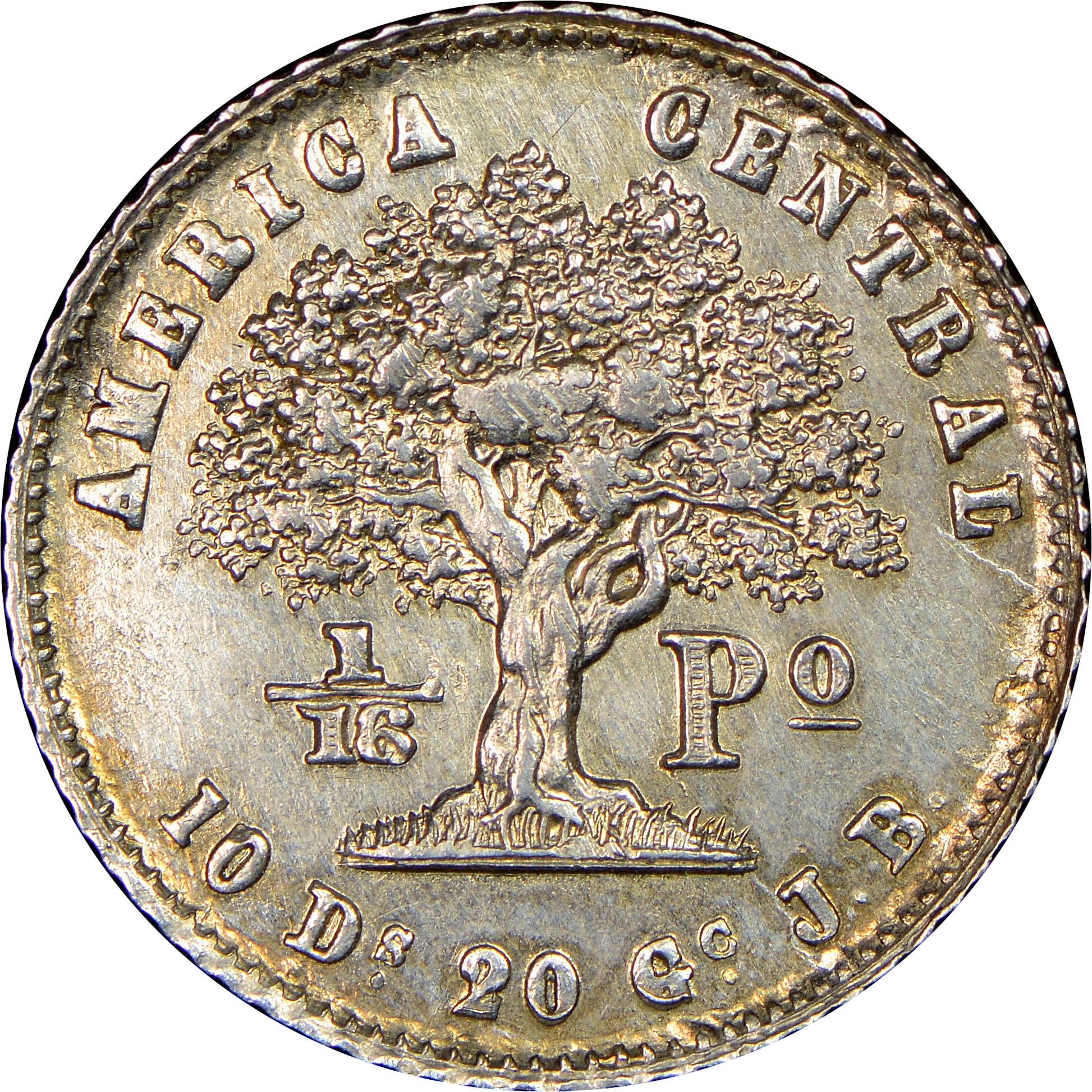 1850-1862 Costa Rica 1/16 Peso reverse