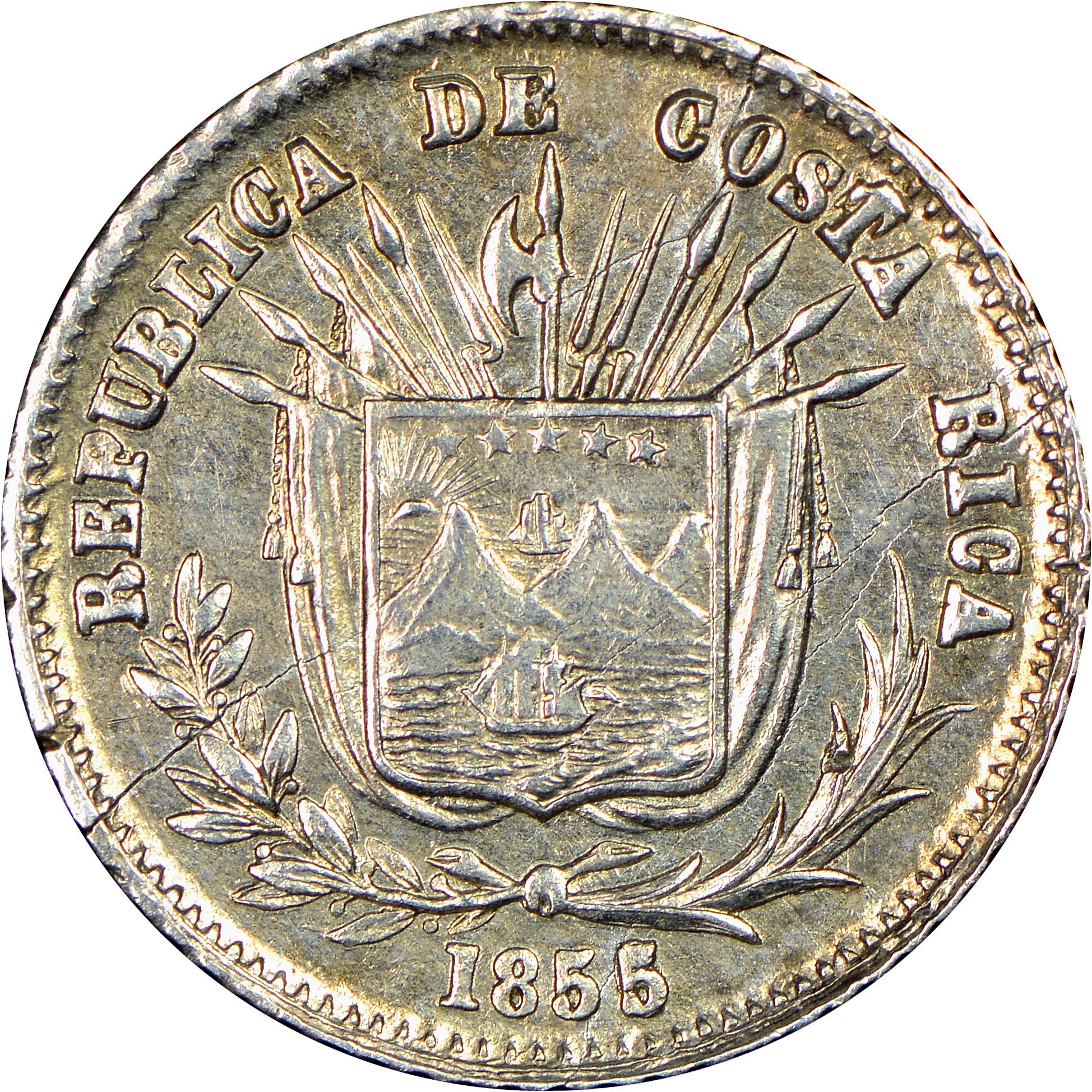 1850-1862 Costa Rica 1/16 Peso obverse