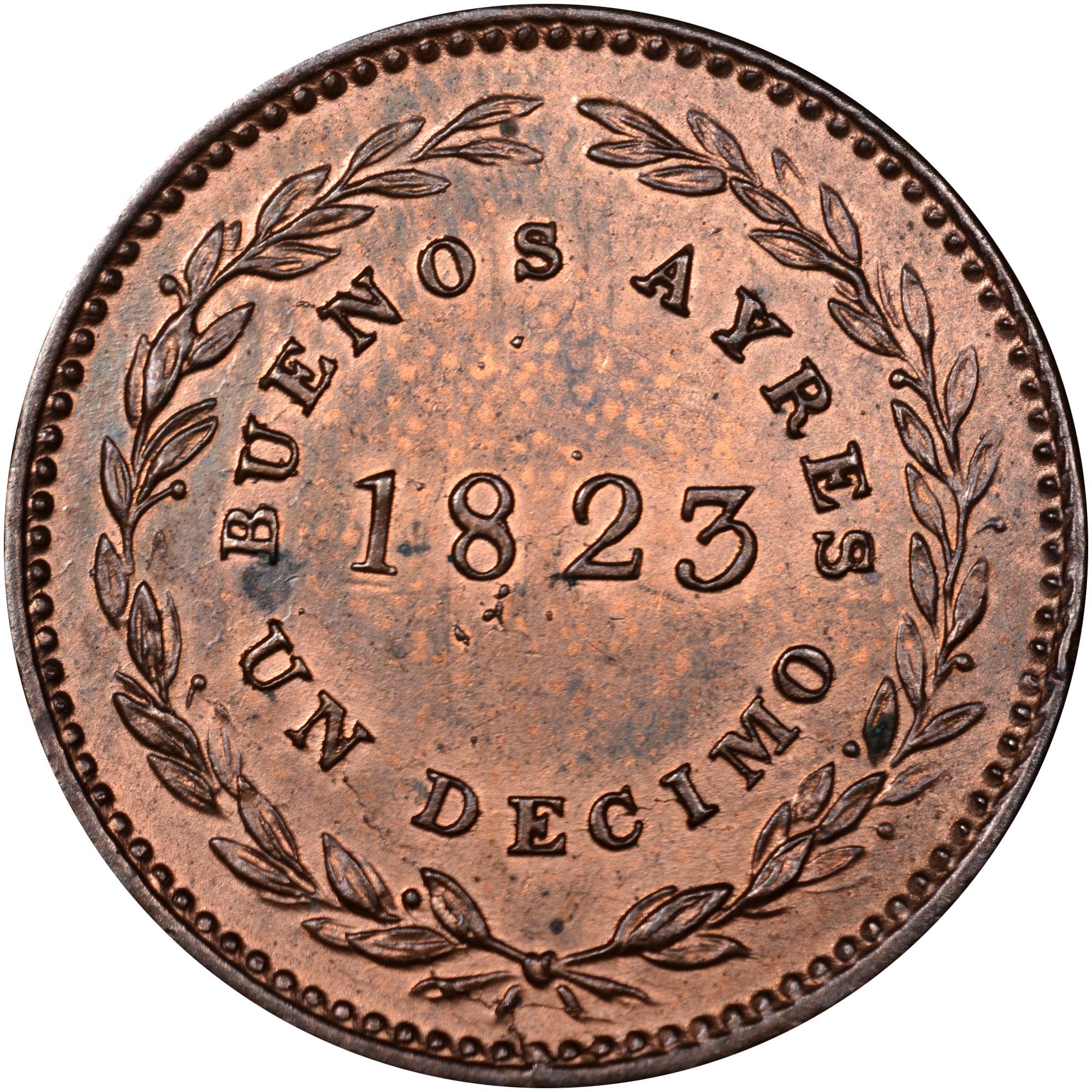 1822-1823 Argentina BUENOS AIRES Decimo obverse