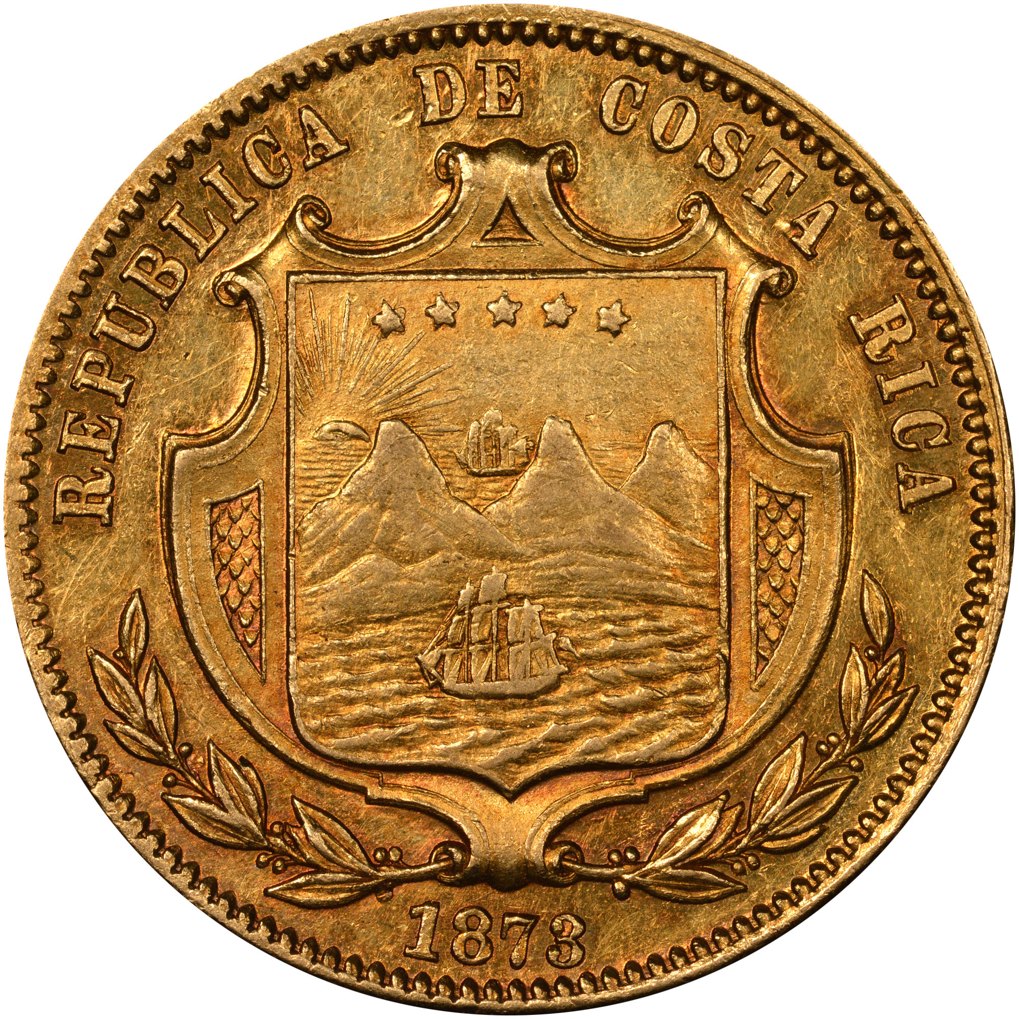 1873 Costa Rica 20 Pesos obverse