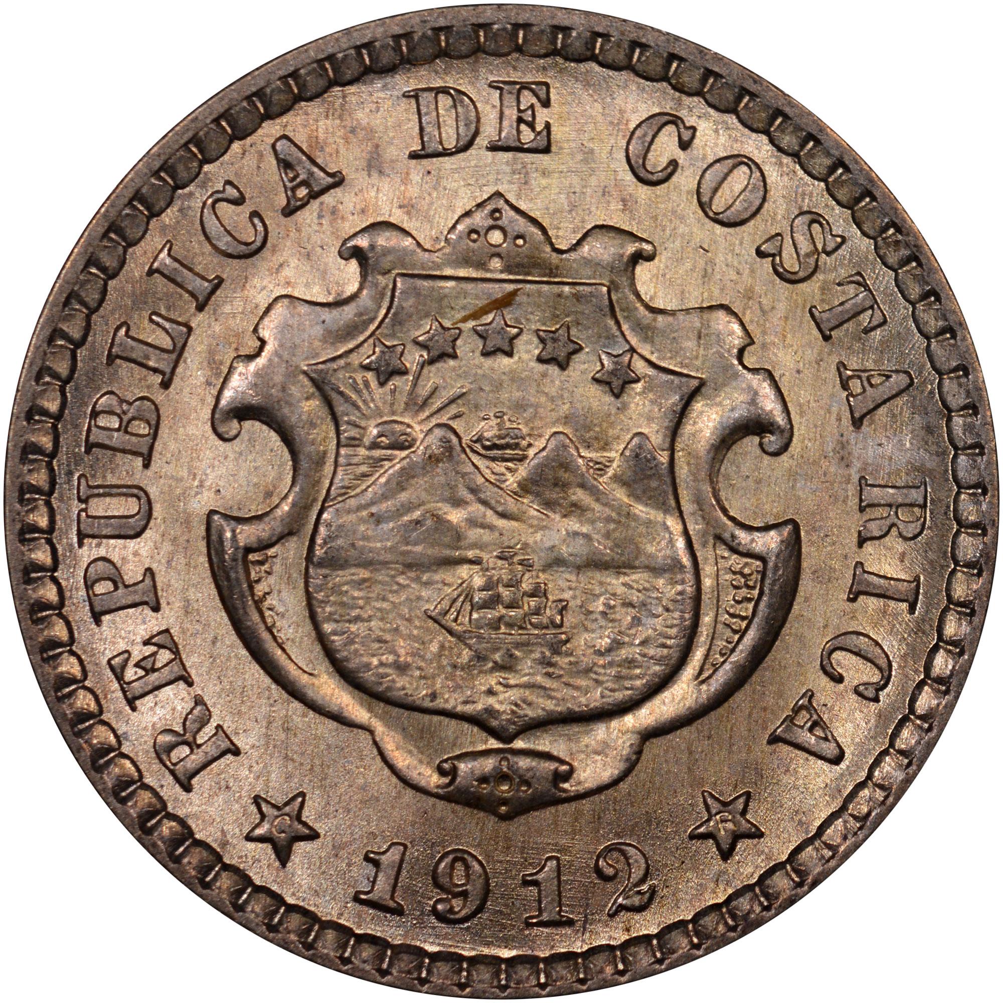 1905-1914 Costa Rica 5 Centimos obverse