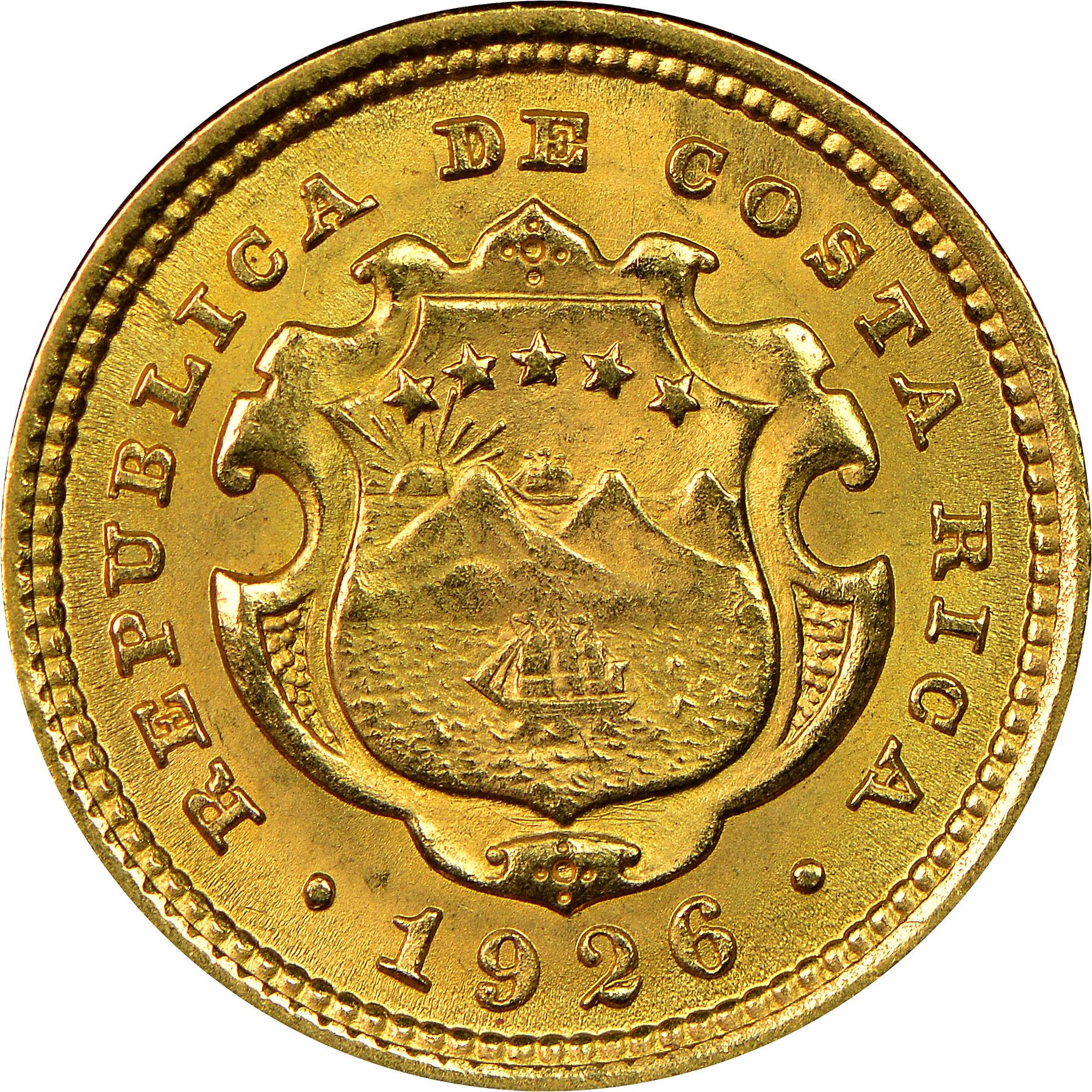 1897-1928 Costa Rica 2 Colones obverse