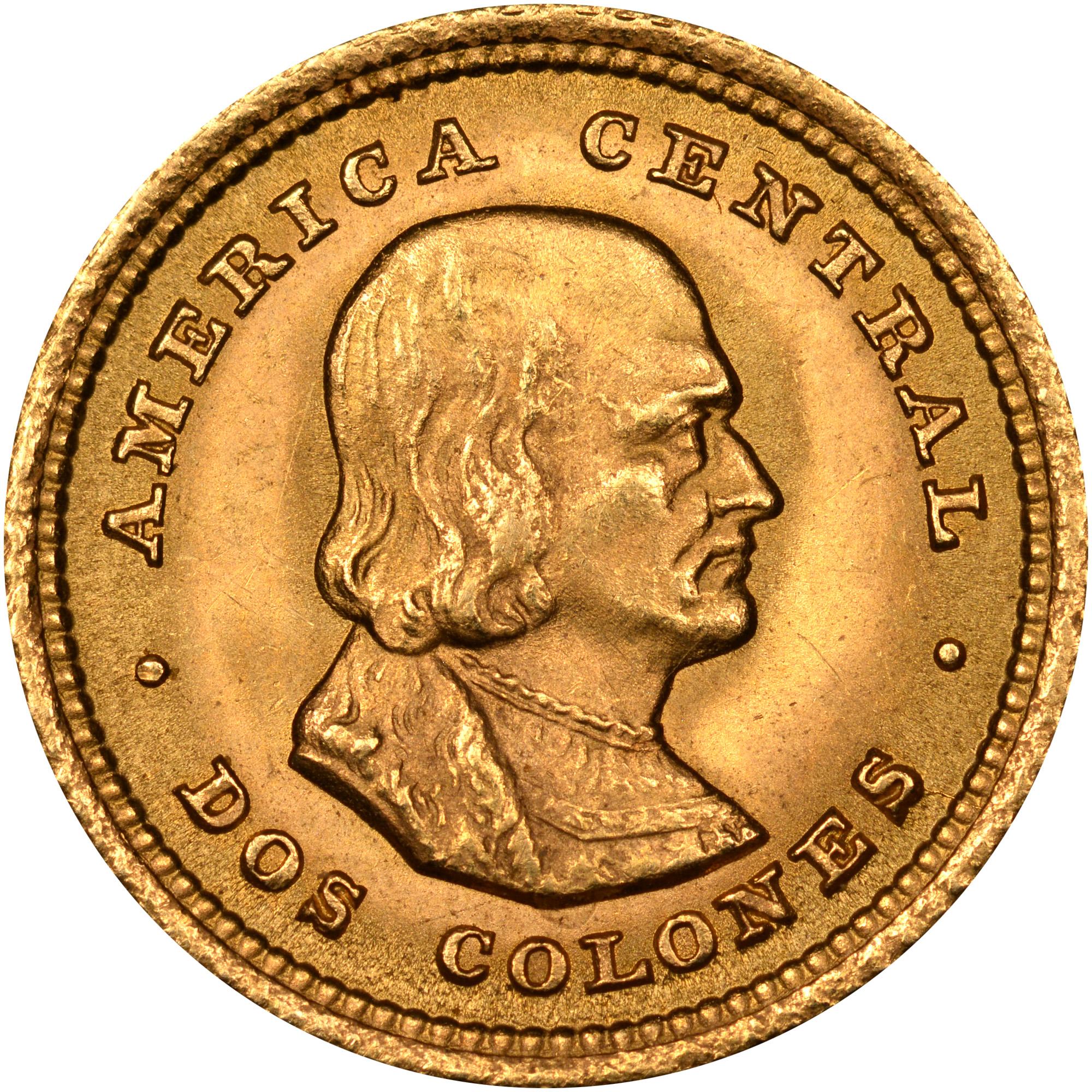 1897-1928 Costa Rica 2 Colones reverse