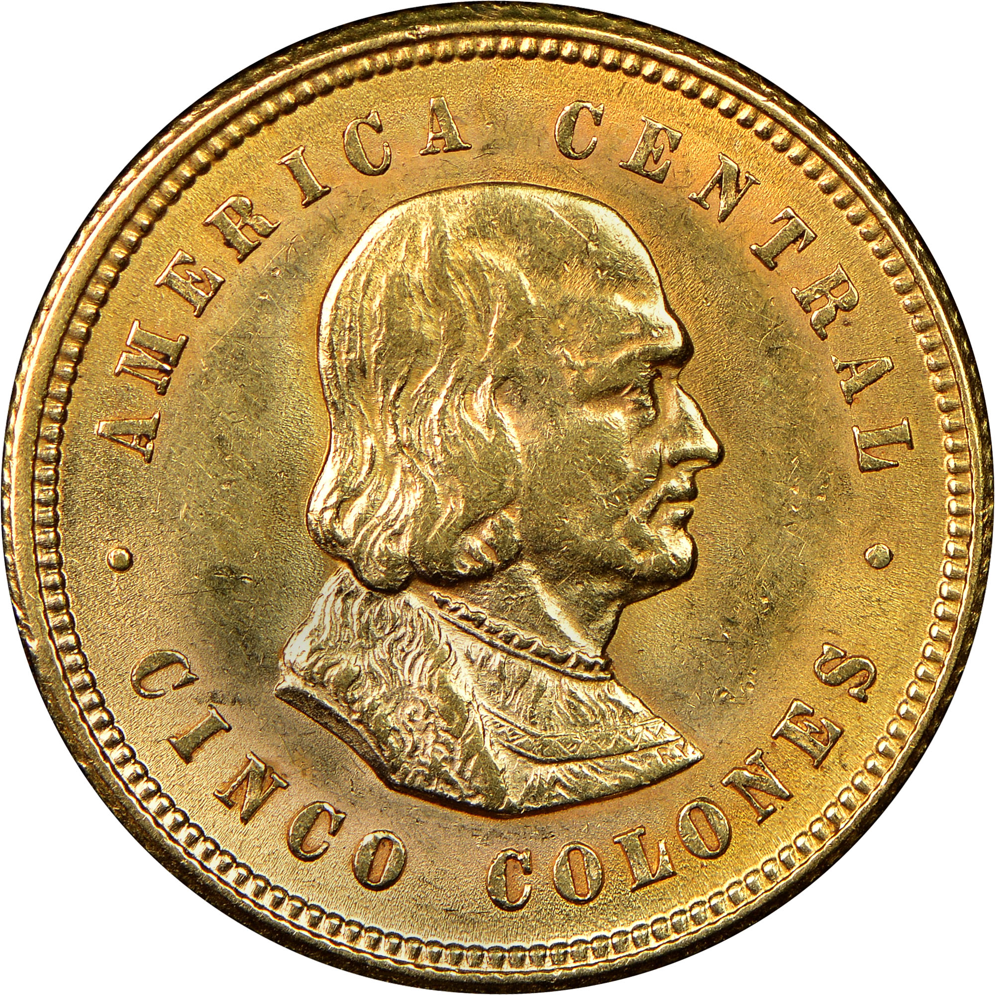 1899-1900 Costa Rica 5 Colones reverse