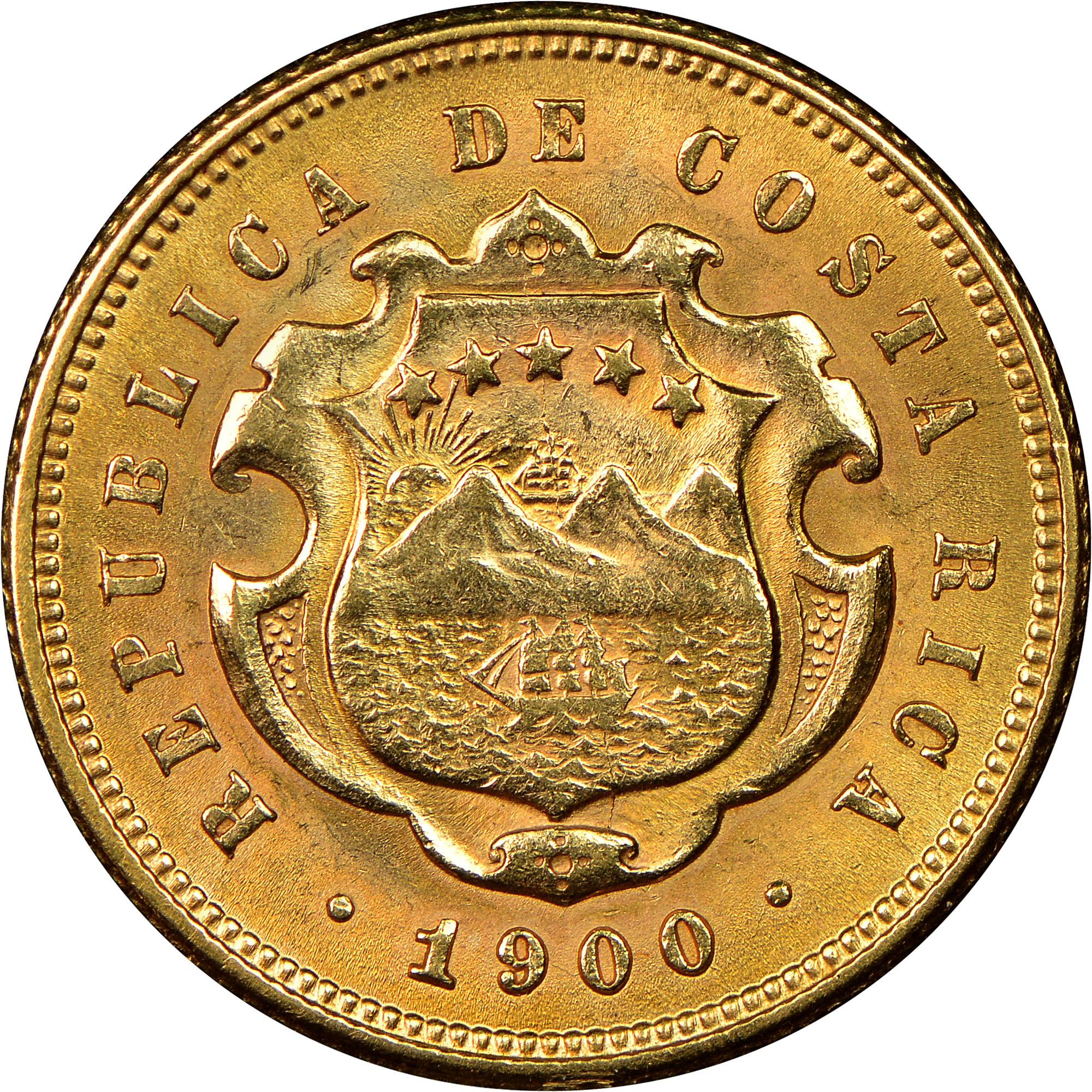 1899-1900 Costa Rica 5 Colones obverse