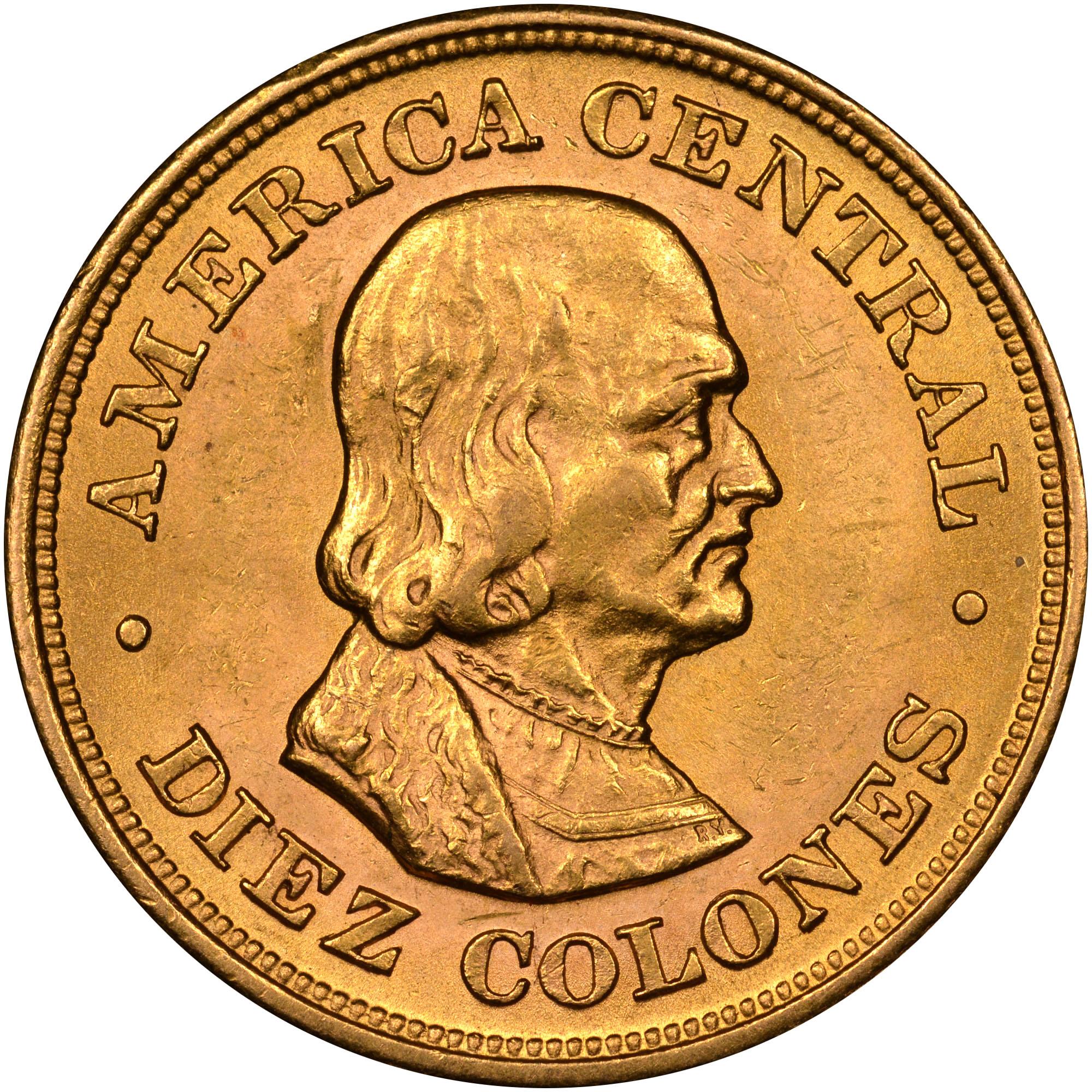 1897-1900 Costa Rica 10 Colones reverse