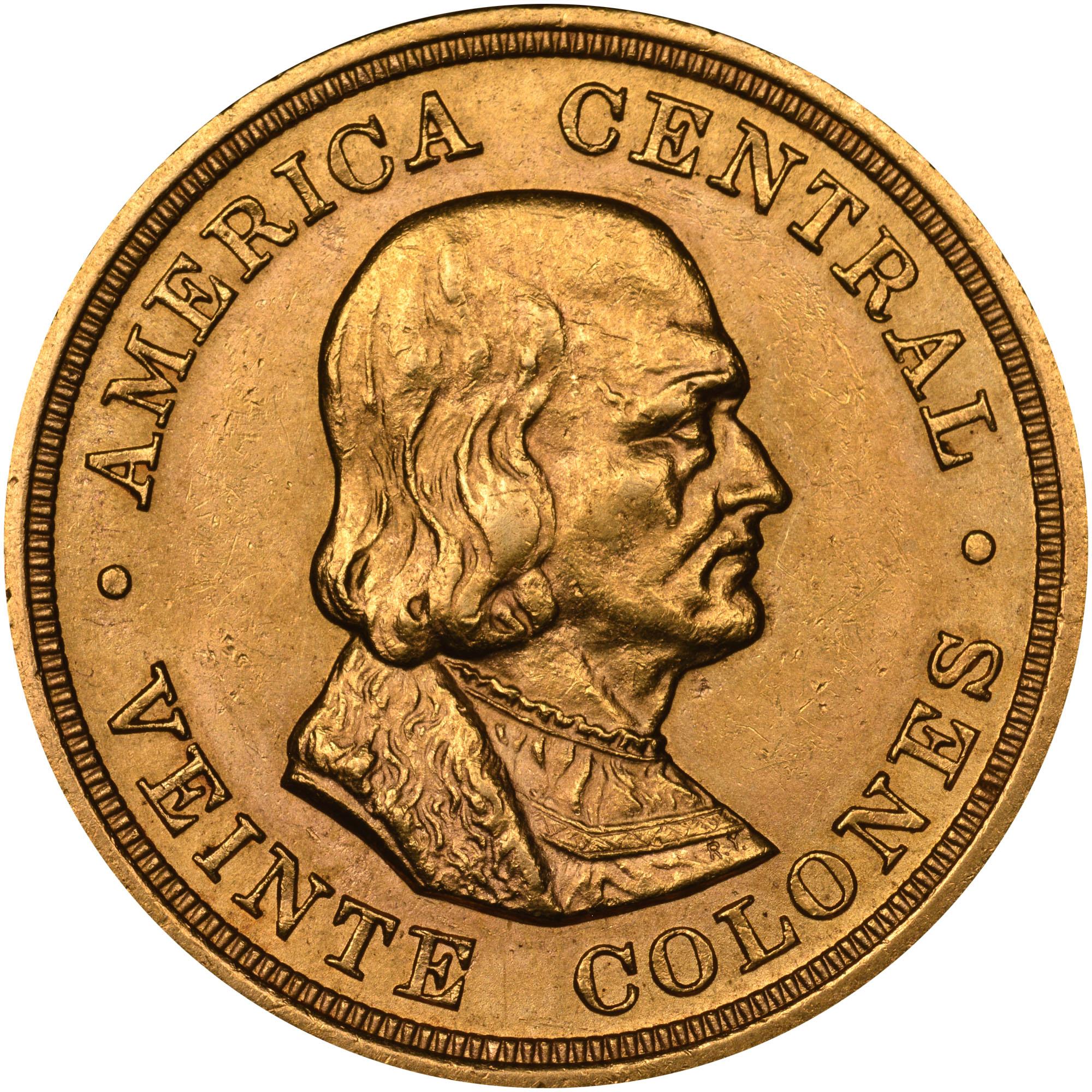 1897-1900 Costa Rica 20 Colones reverse