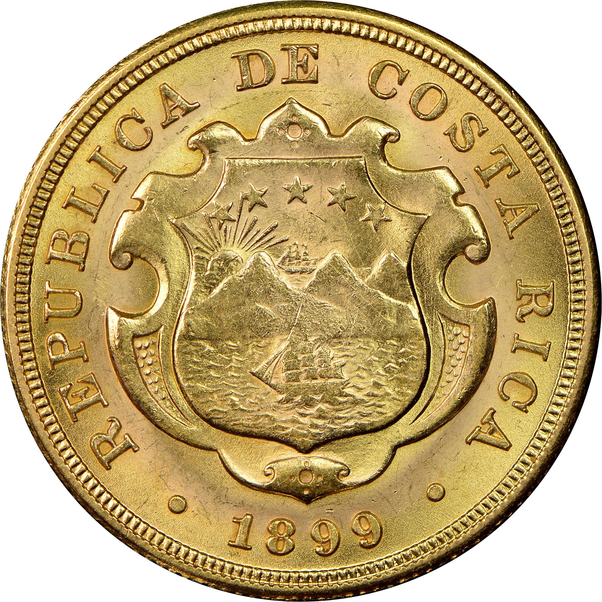 1897-1900 Costa Rica 20 Colones obverse