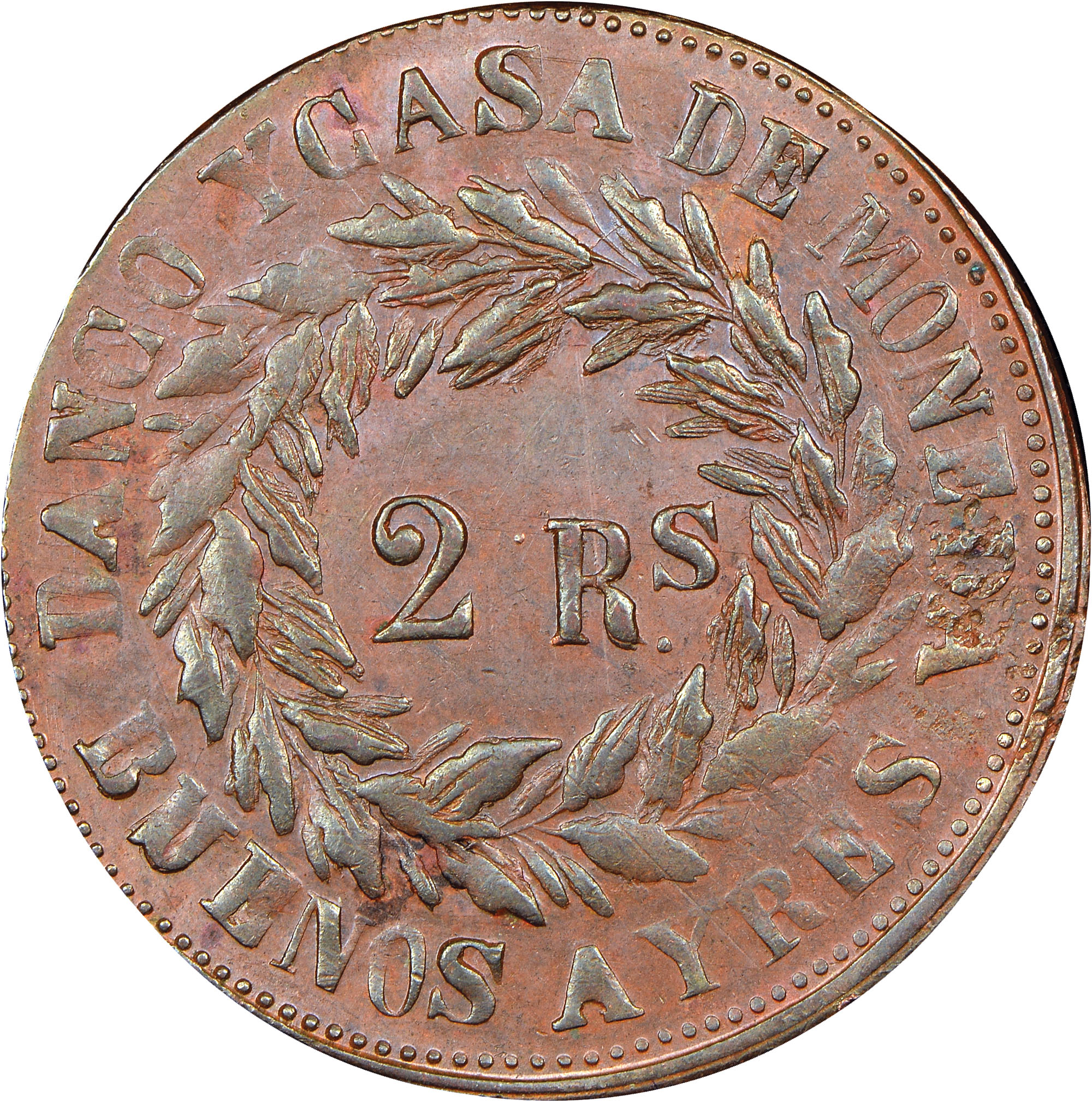 1860-1861 Argentina BUENOS AIRES 2 Reales reverse