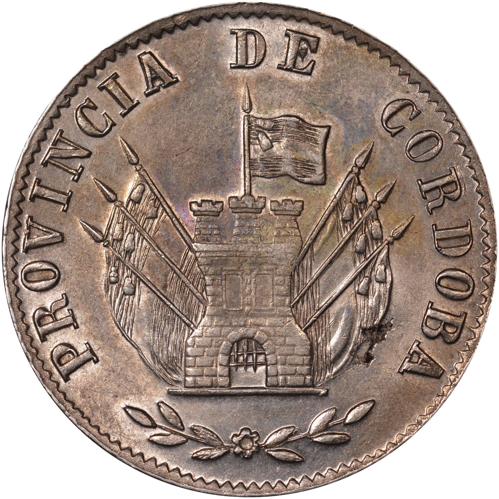 1852 Argentina CORDOBA 8 Reales obverse