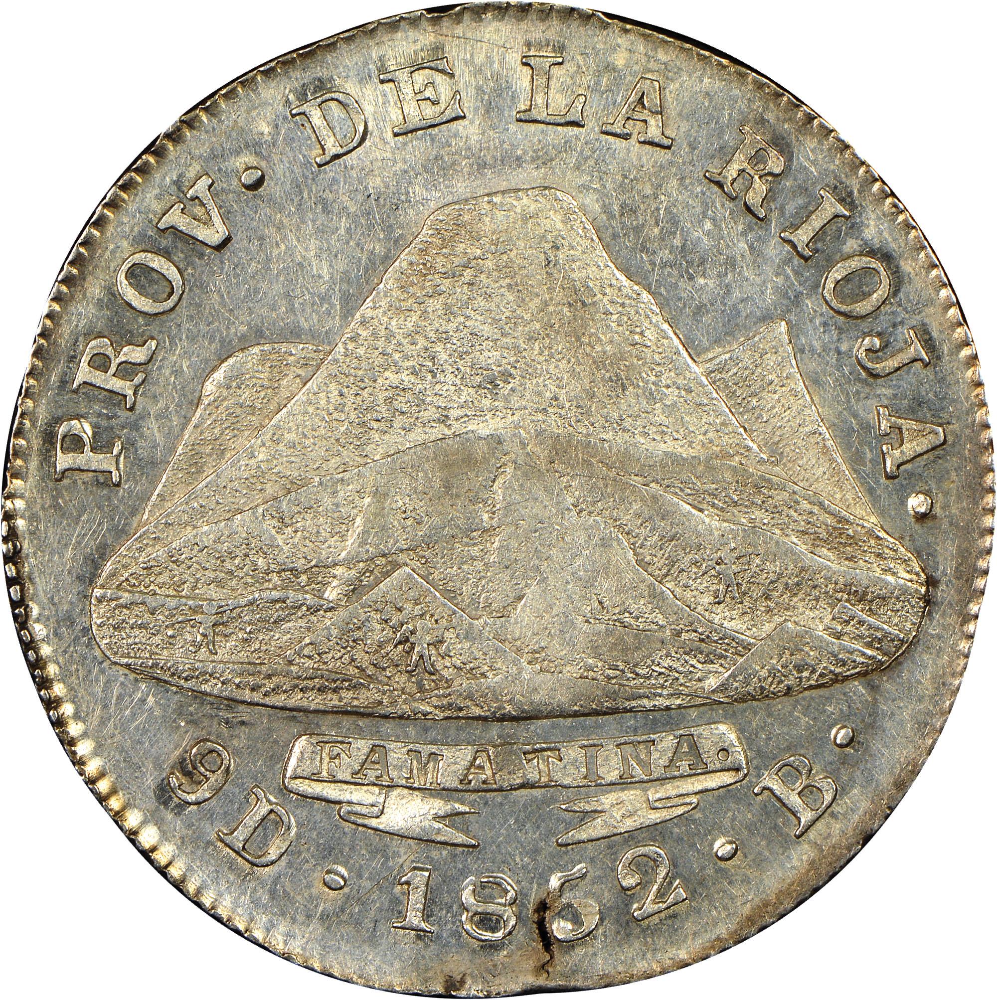 1852 Argentina LA RIOJA 4 Reales reverse