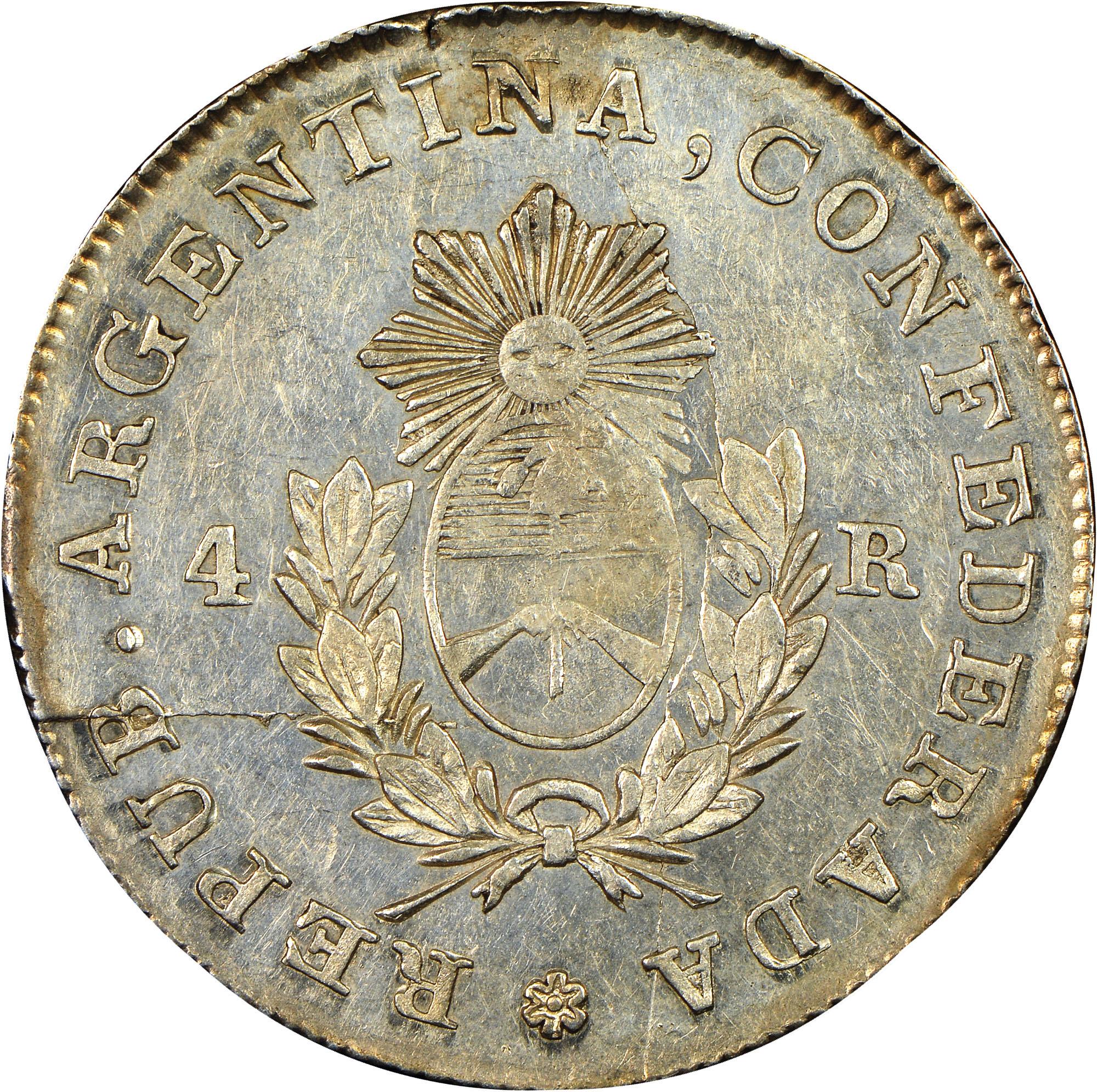 1852 Argentina LA RIOJA 4 Reales obverse