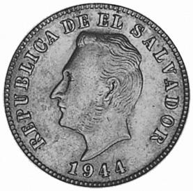 1944 El Salvador 5 Centavos