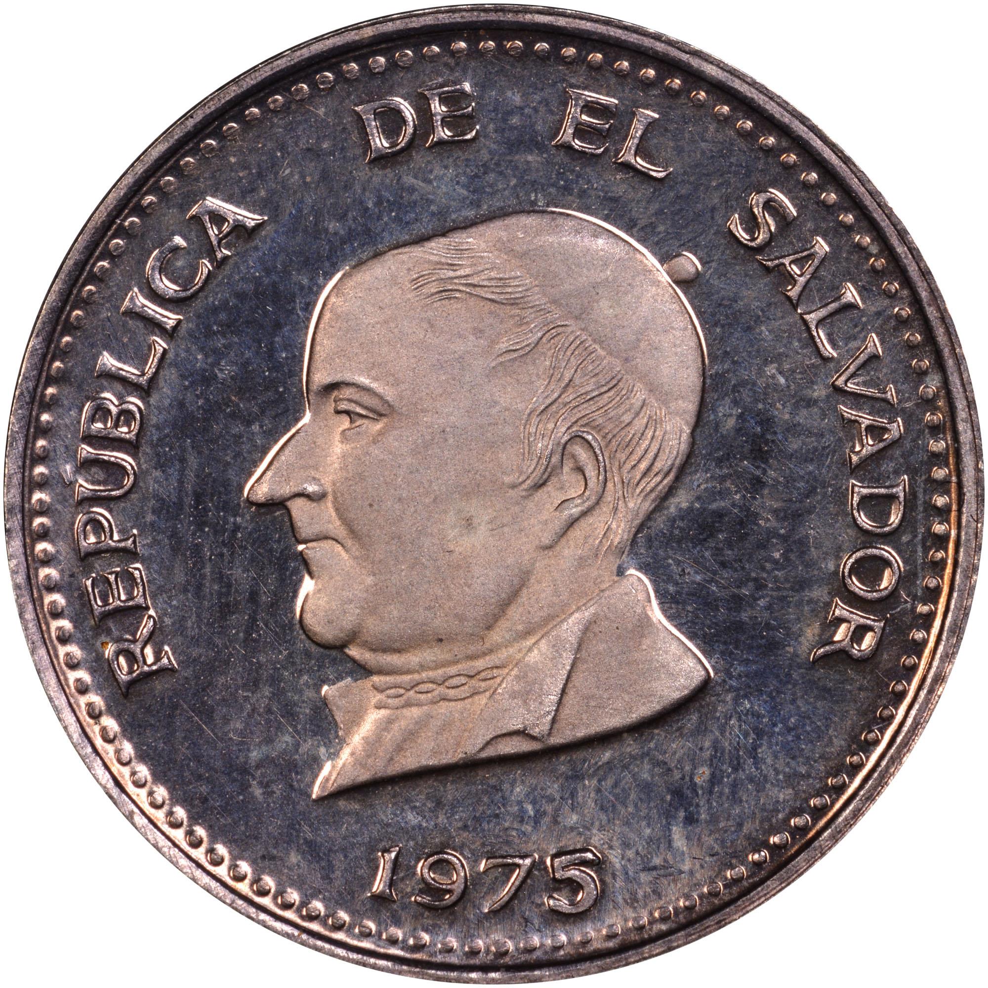 1970-1977 El Salvador 25 Centavos obverse