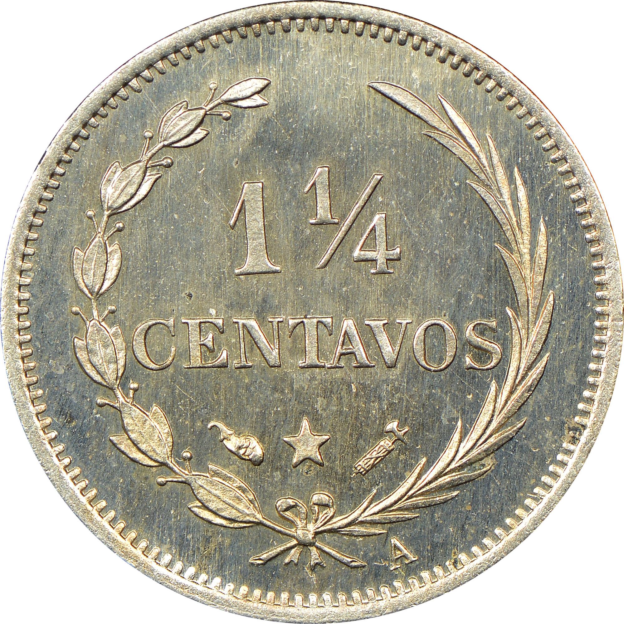 Dominican Republic 1-1/4 Centavos reverse