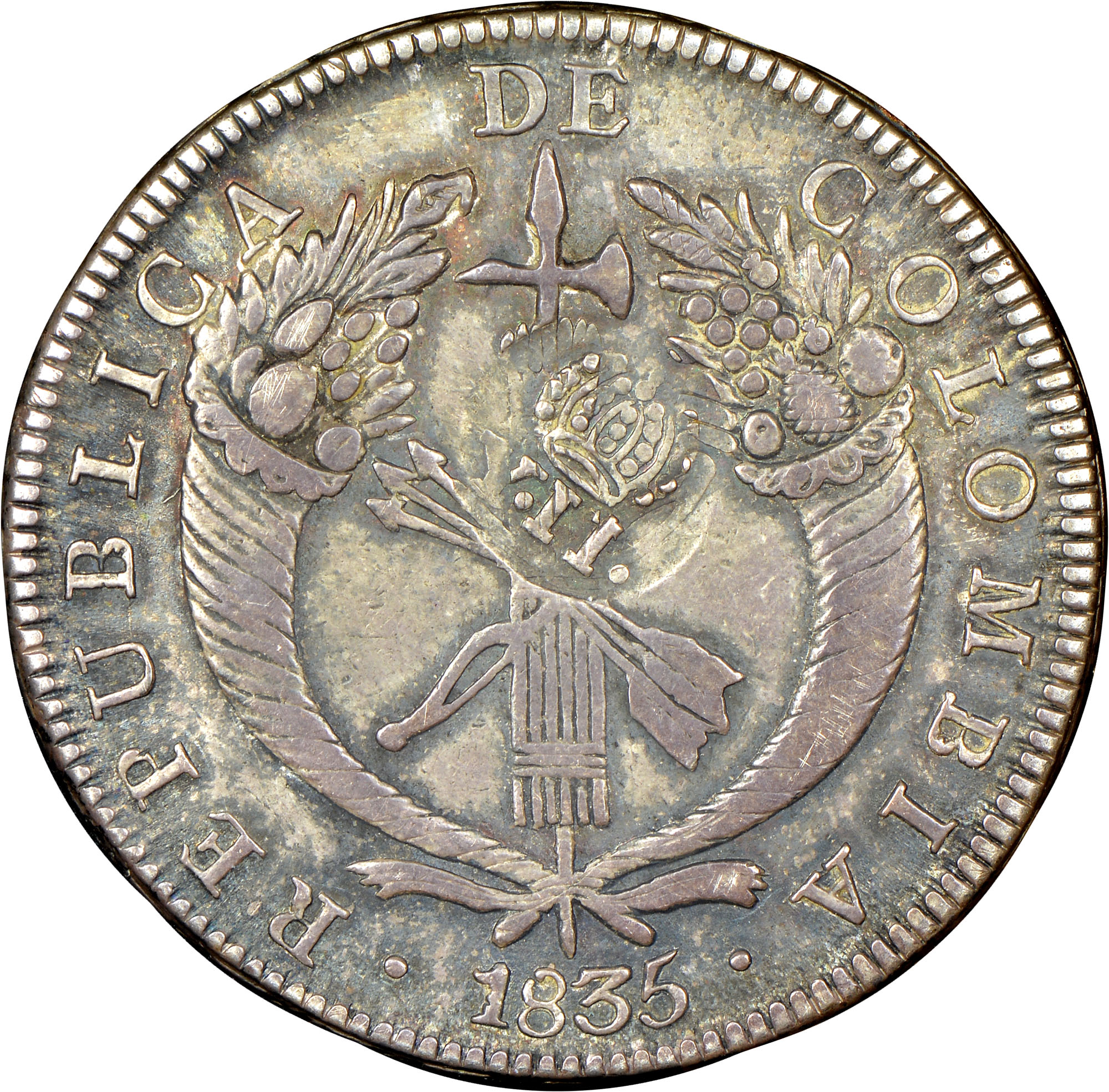 1834-1836 Colombia 8 Reales obverse
