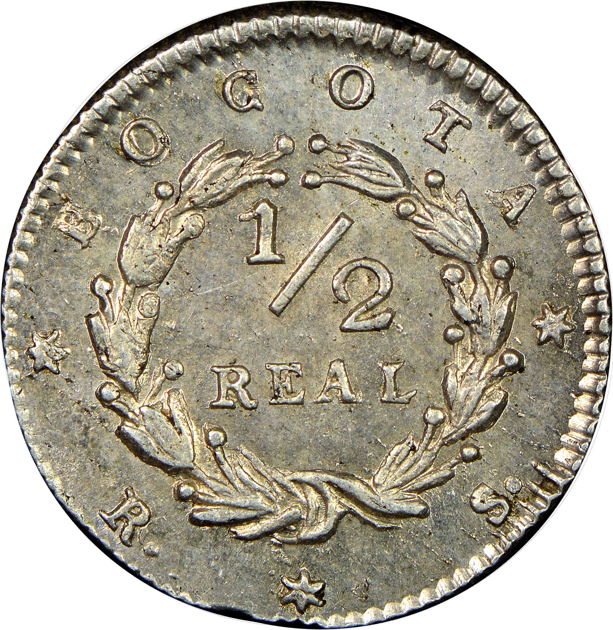 1838-1847/6 Colombia 1/2 Real reverse