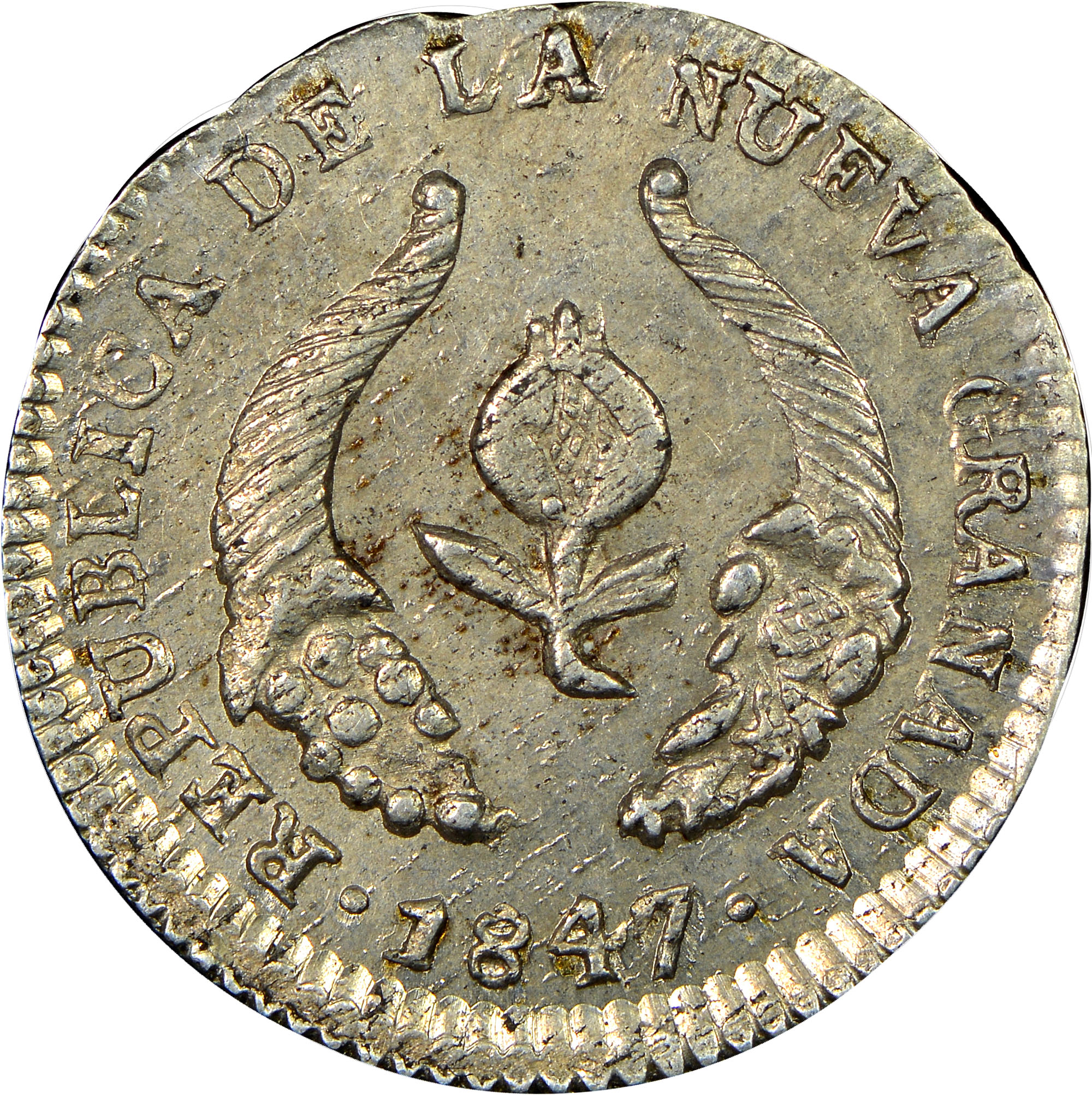 1838-1847/6 Colombia 1/2 Real obverse