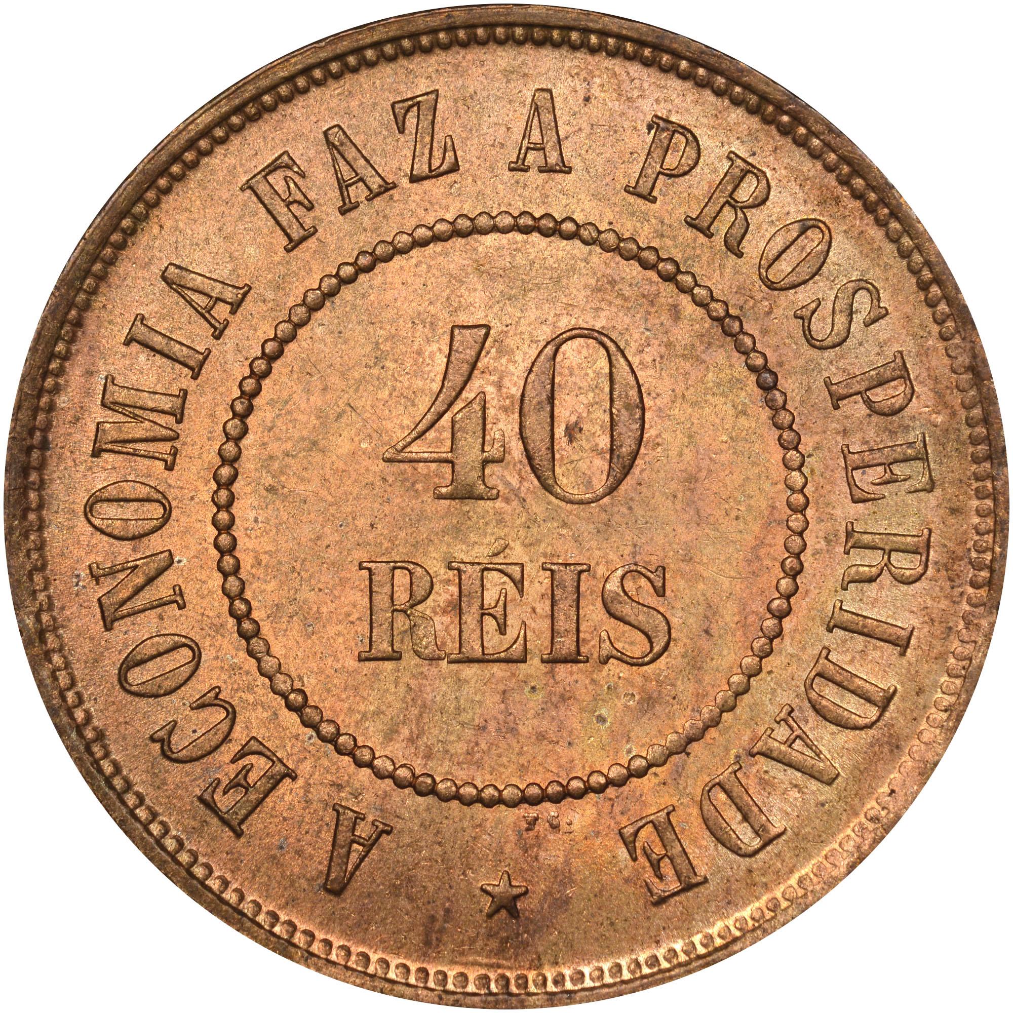1889-1912 Brazil 40 Reis reverse