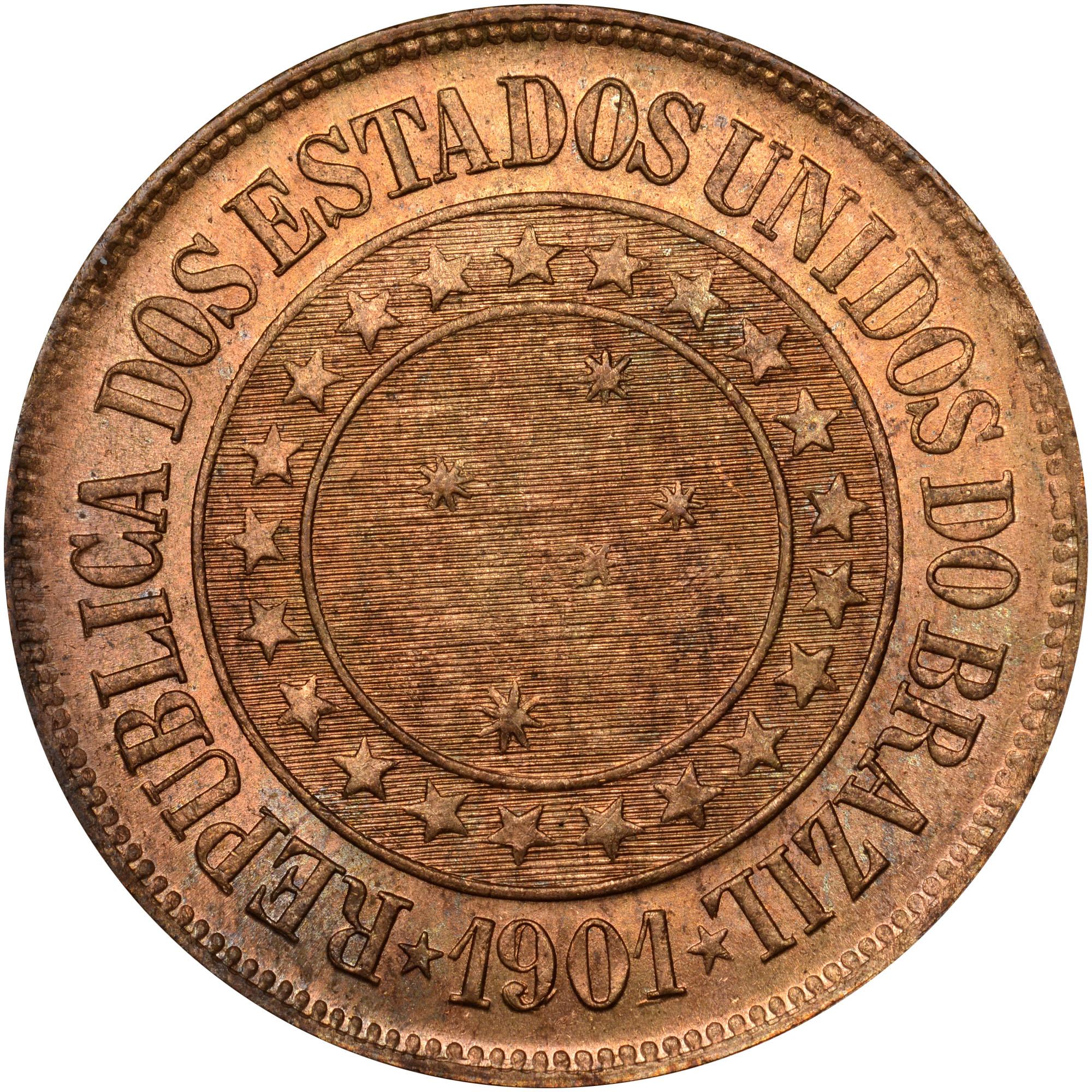 1889-1912 Brazil 40 Reis obverse
