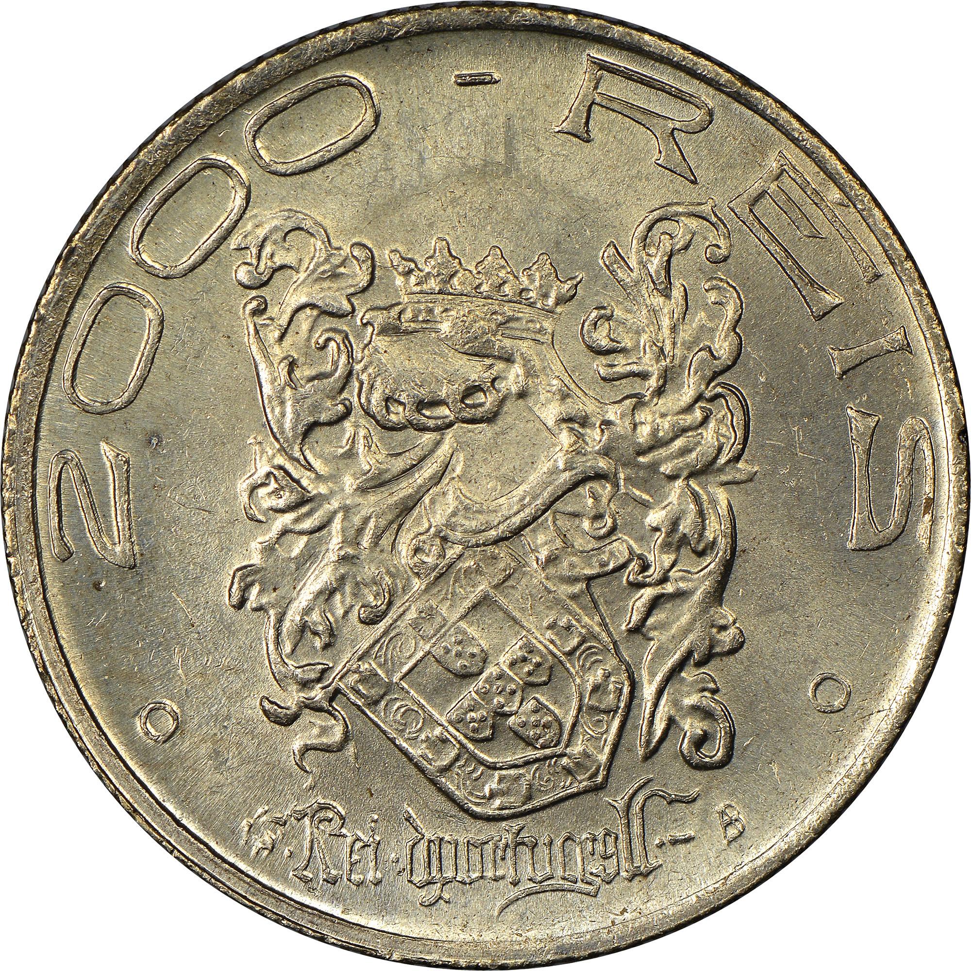 Brazil 2000 Reis reverse