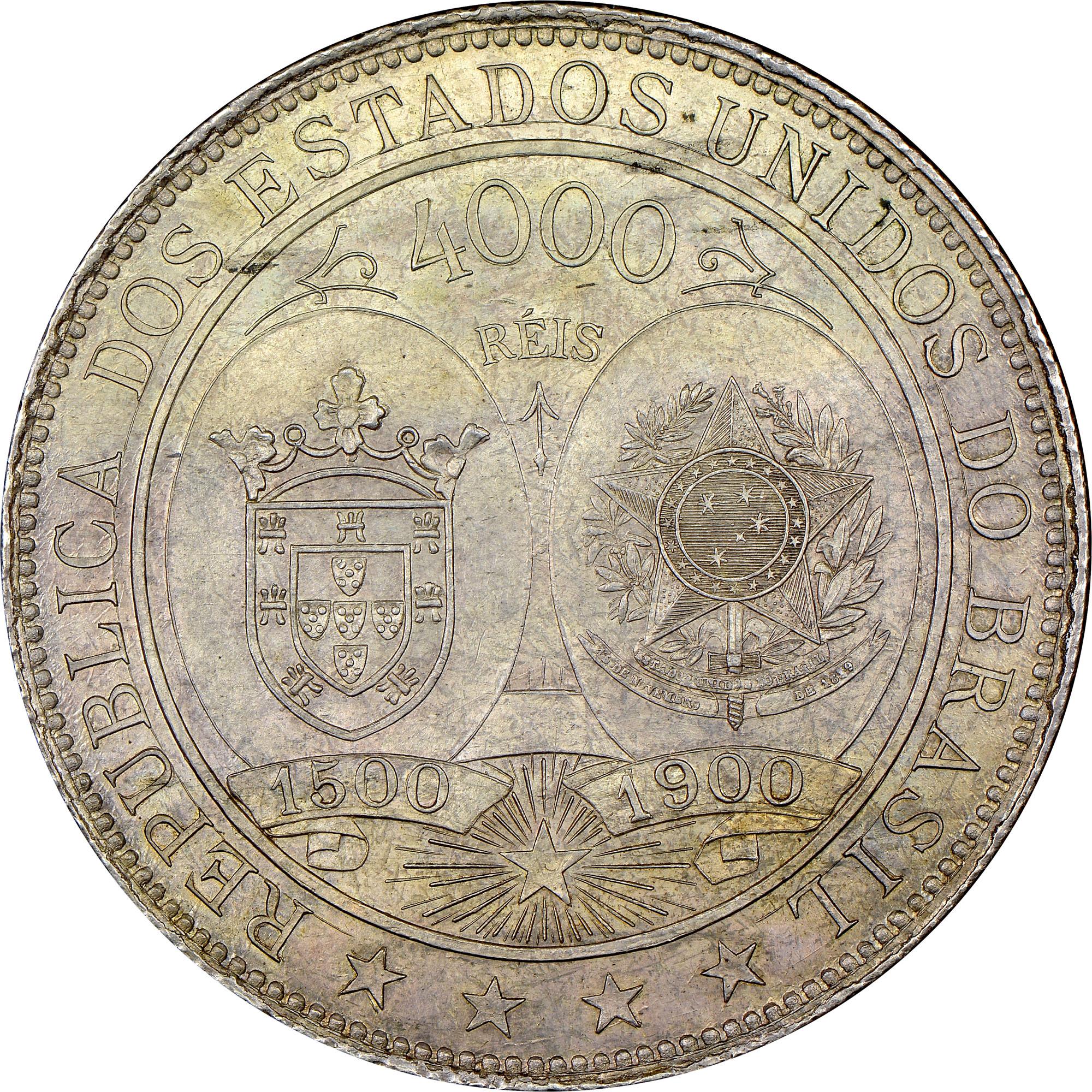 1900 Brazil 4000 Reis obverse