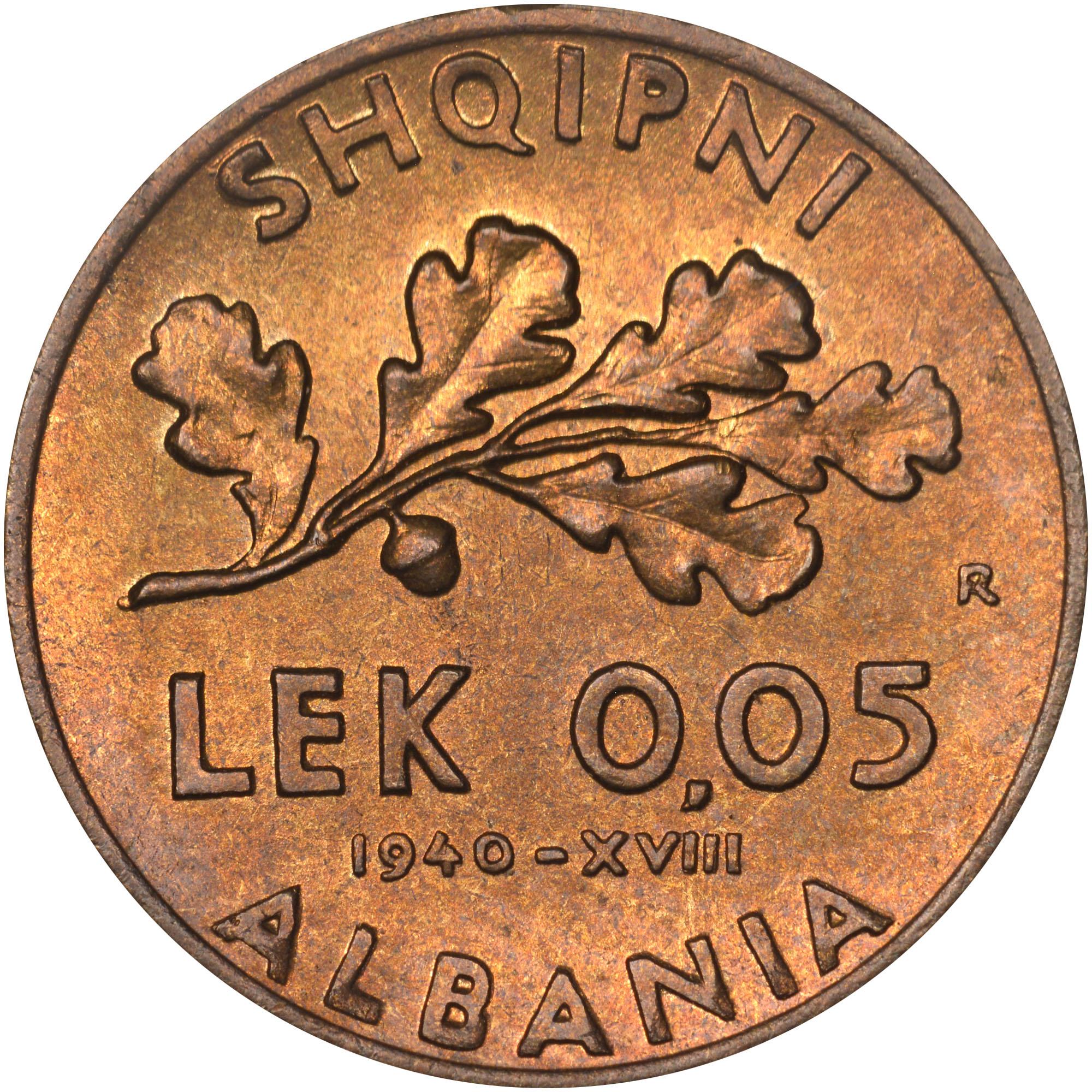 1940-1941 Albania 0.05 Lek reverse