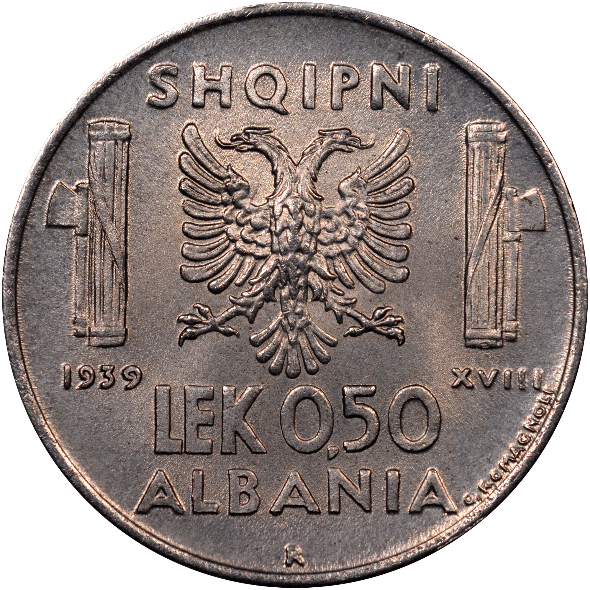 1939-1941 Albania 0.50 Lek reverse