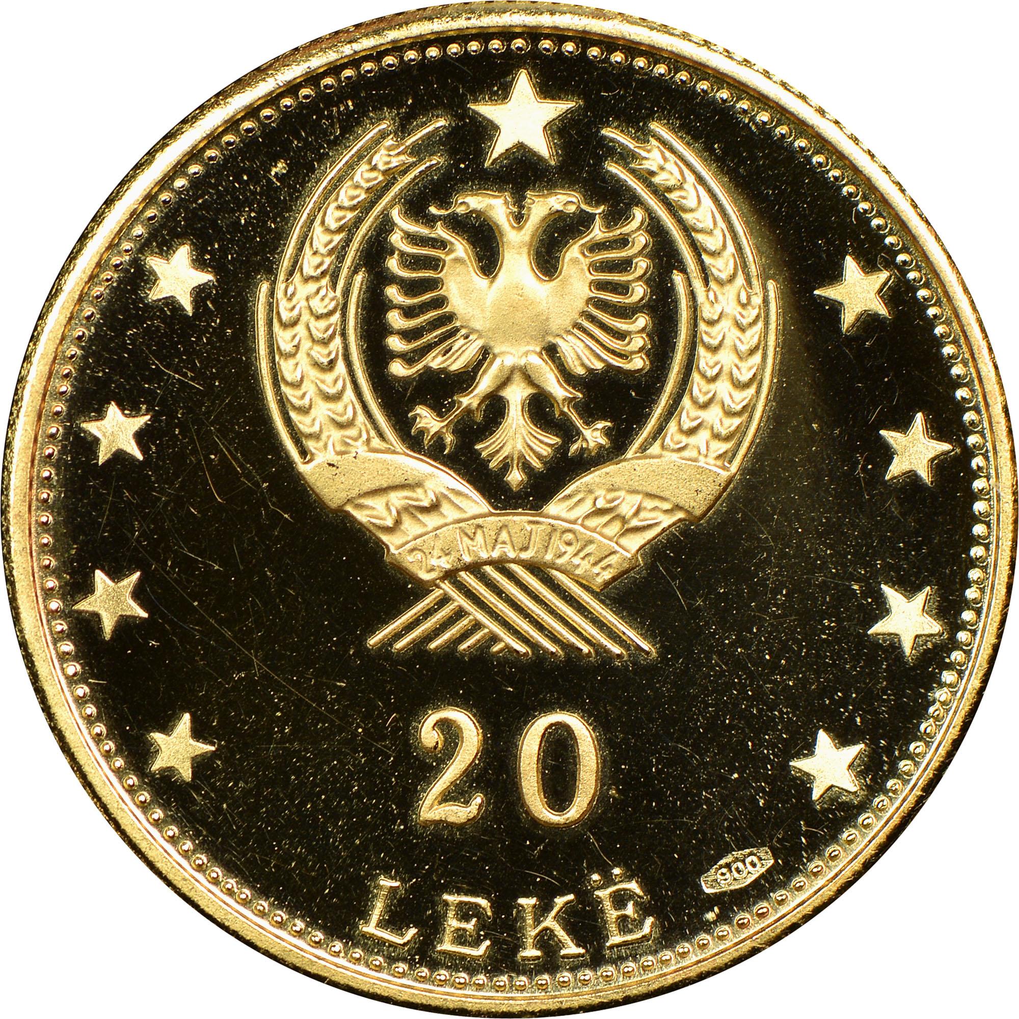 1968 Albania 20 Leke reverse
