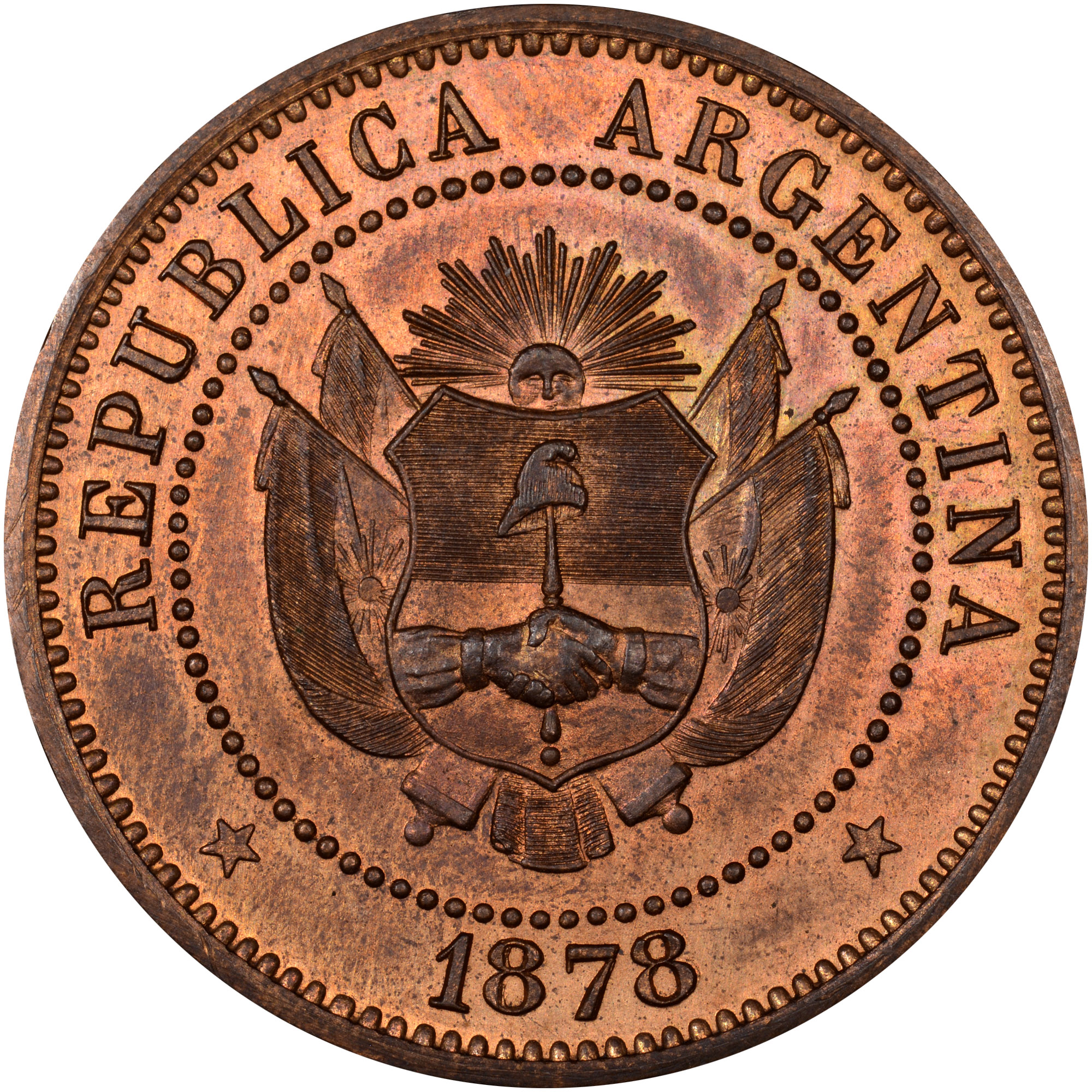 1878 Argentina 2 Centavos obverse