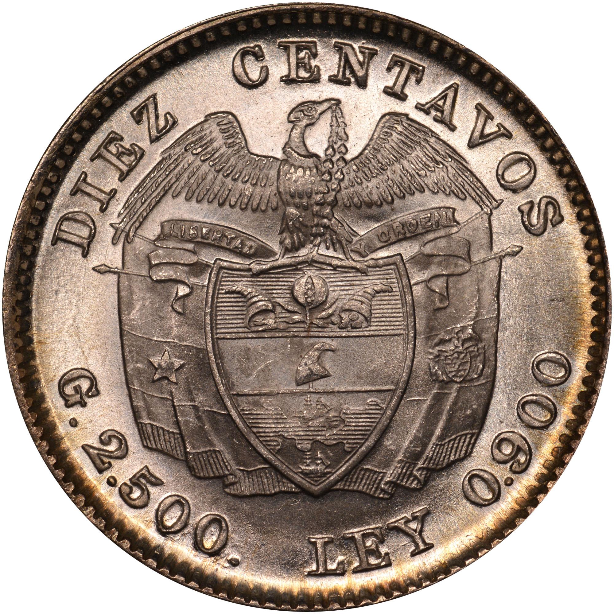 1911-1942 Colombia 10 Centavos reverse