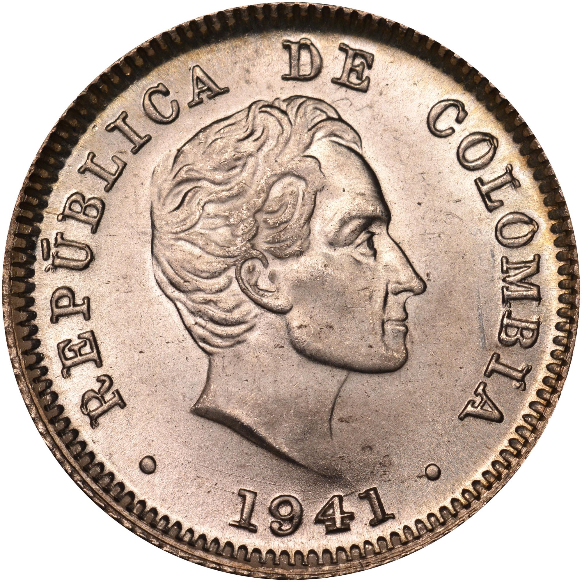 1911-1942 Colombia 10 Centavos obverse