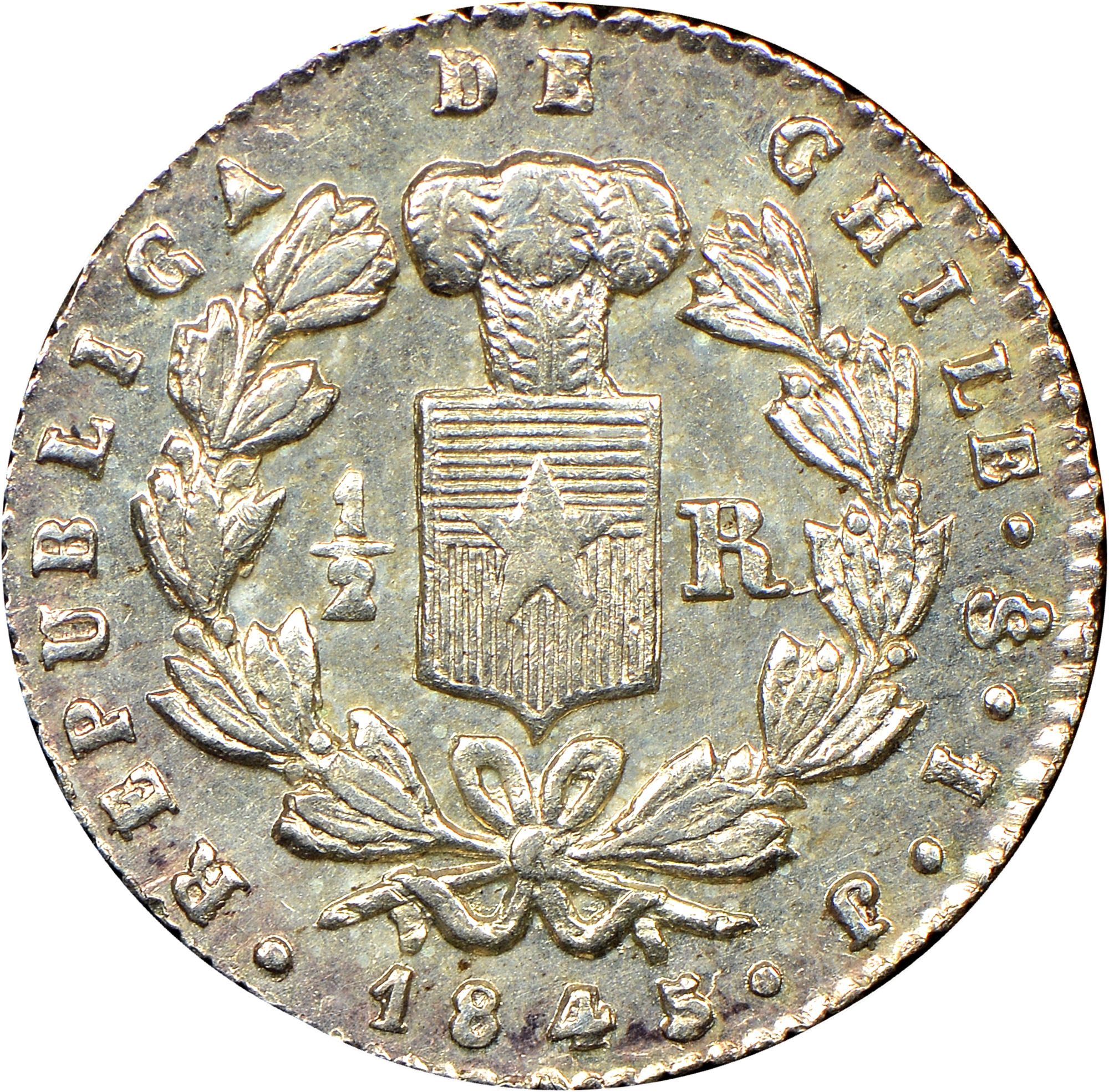 1844-1851 Chile 1/2 Real obverse
