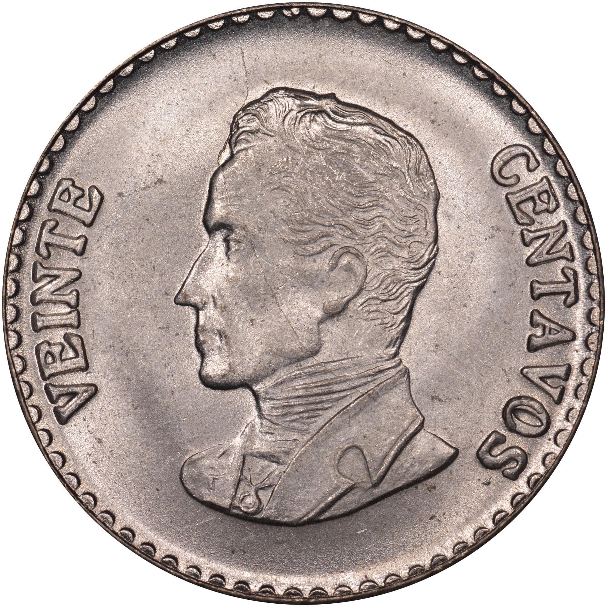 1952-1953 Colombia 20 Centavos reverse