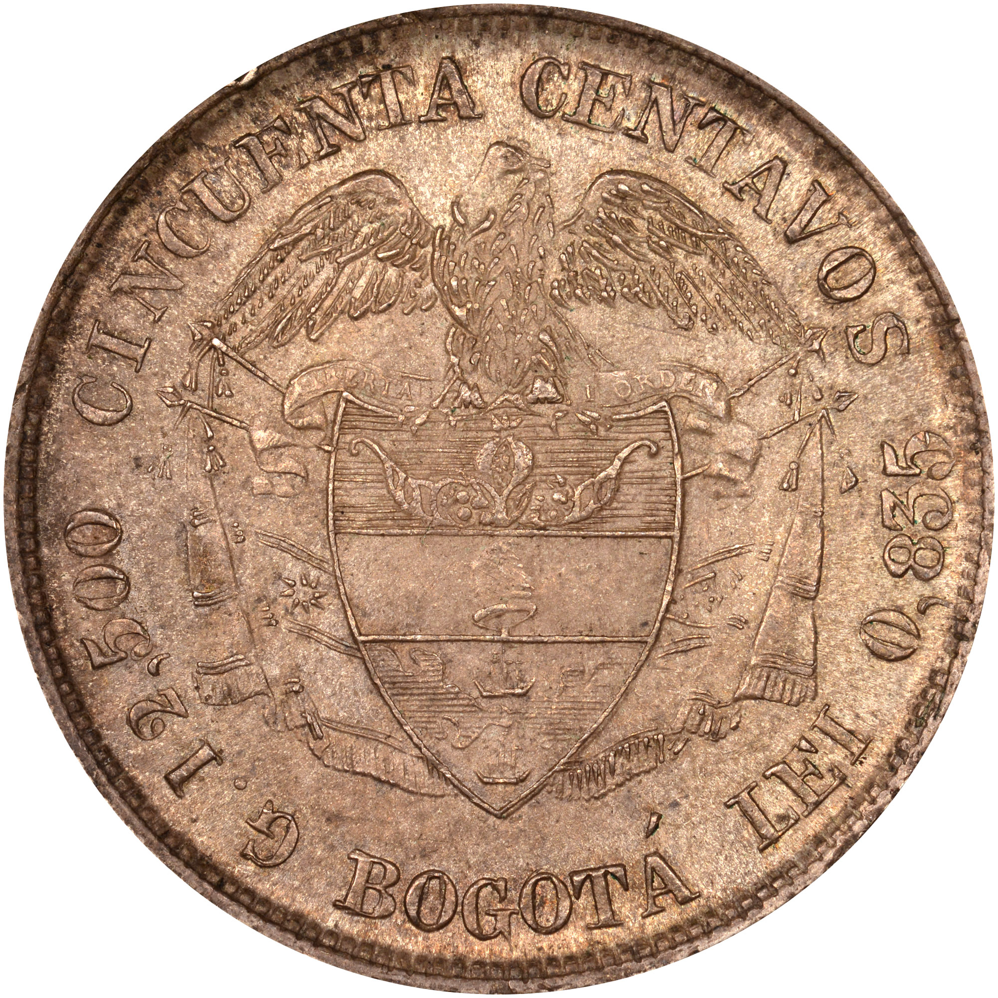 1889-1899 Colombia 50 Centavos reverse