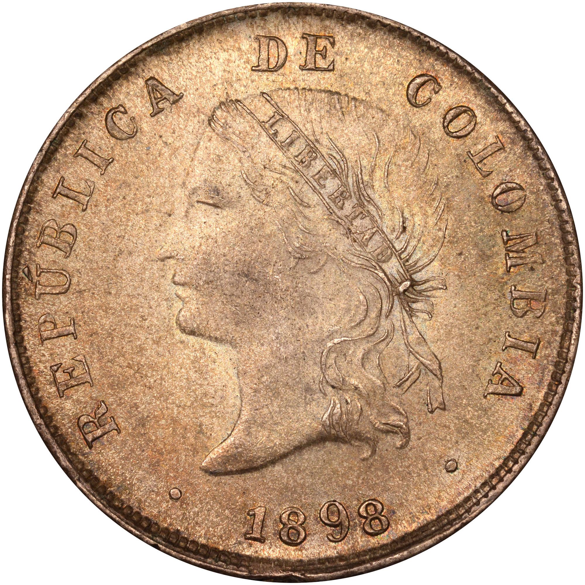 1889-1899 Colombia 50 Centavos obverse