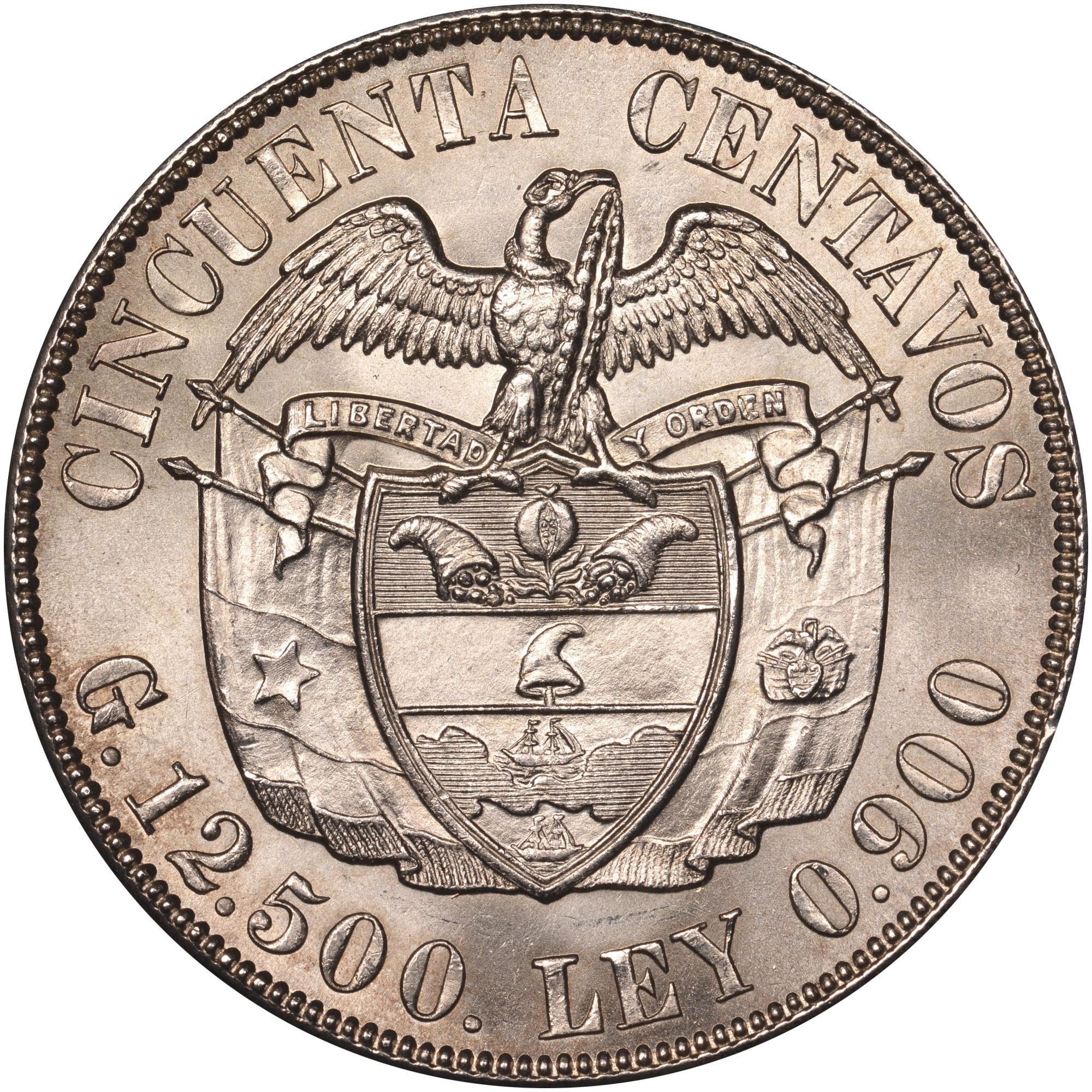 1916-1934 Colombia 50 Centavos reverse