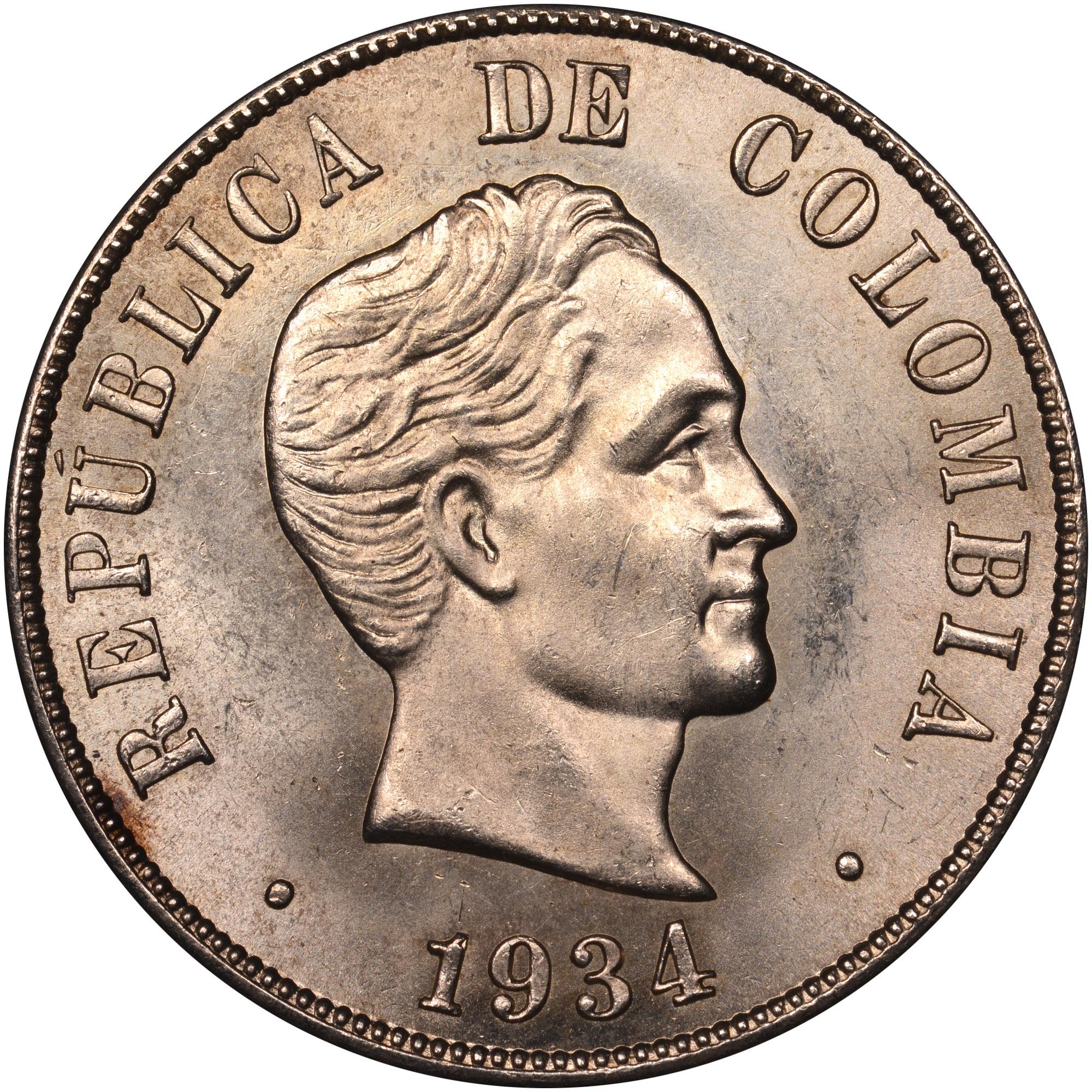 1916-1934 Colombia 50 Centavos obverse