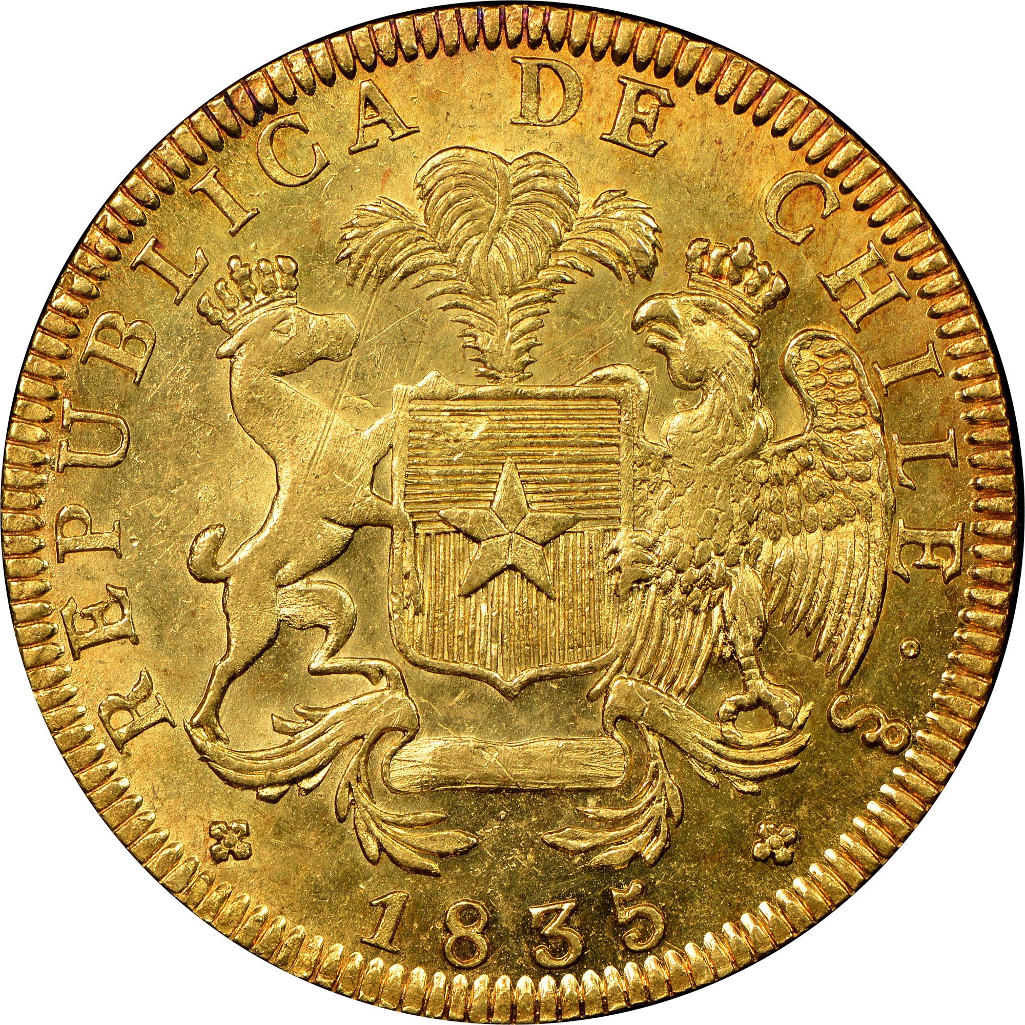 1835-1838 Chile 8 Escudos obverse